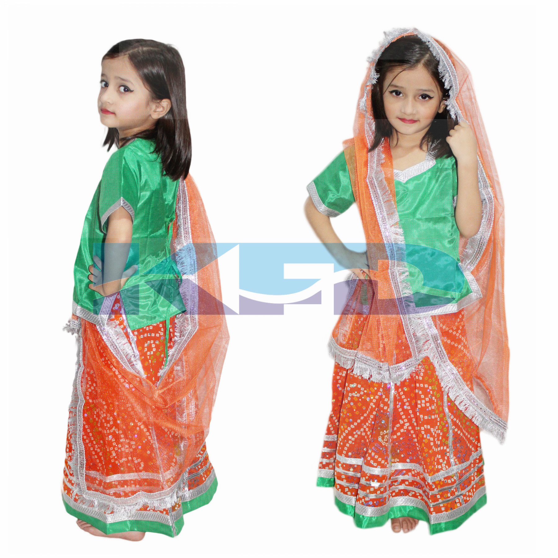 e5226fcdc Radha/Rajasthani Lehenga fancy dress for kids,Indian State Traditional Wear  Costume for Annual function/Theme Party/Competition/Stage Shows/Birthday  Party ...