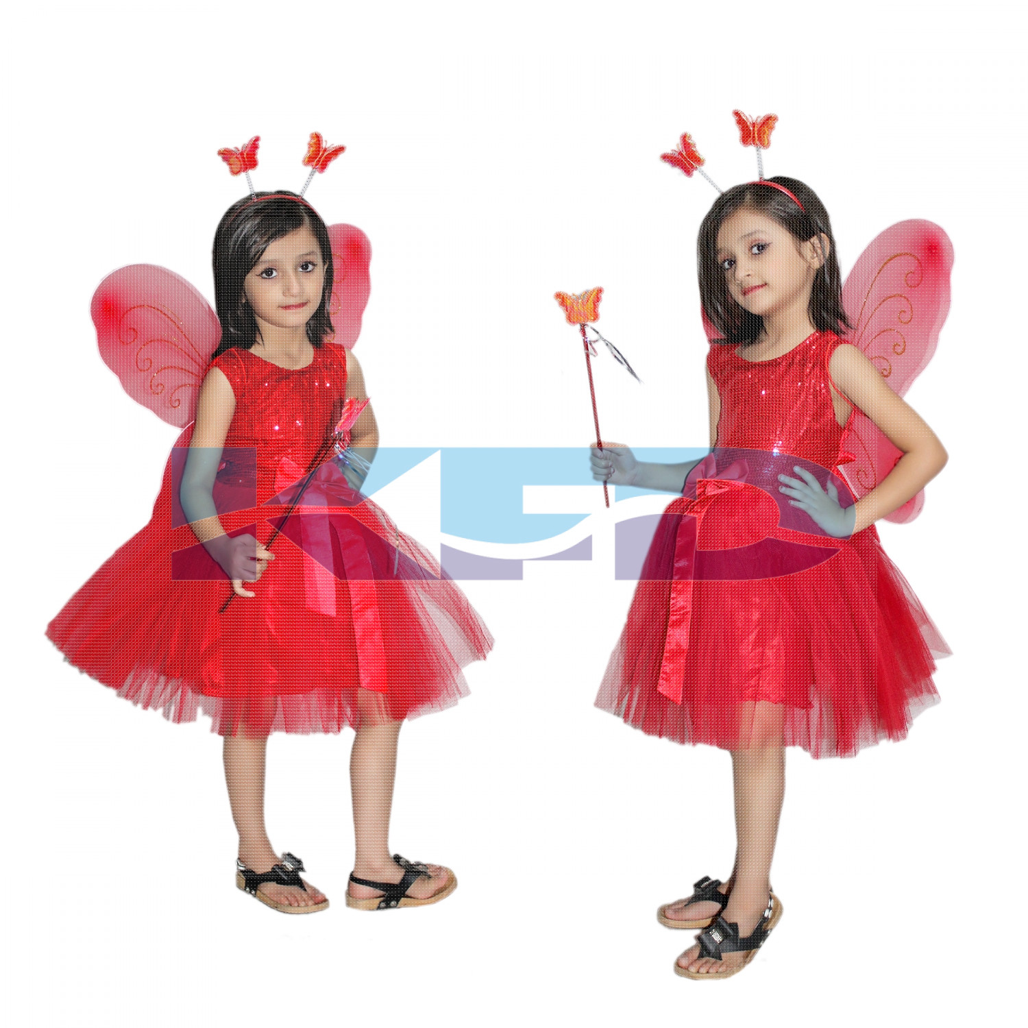 Red Butterfly Girl fancy dress for kids,Insect Costume for School Annual function/Theme Party/Competition/Stage Shows Dress