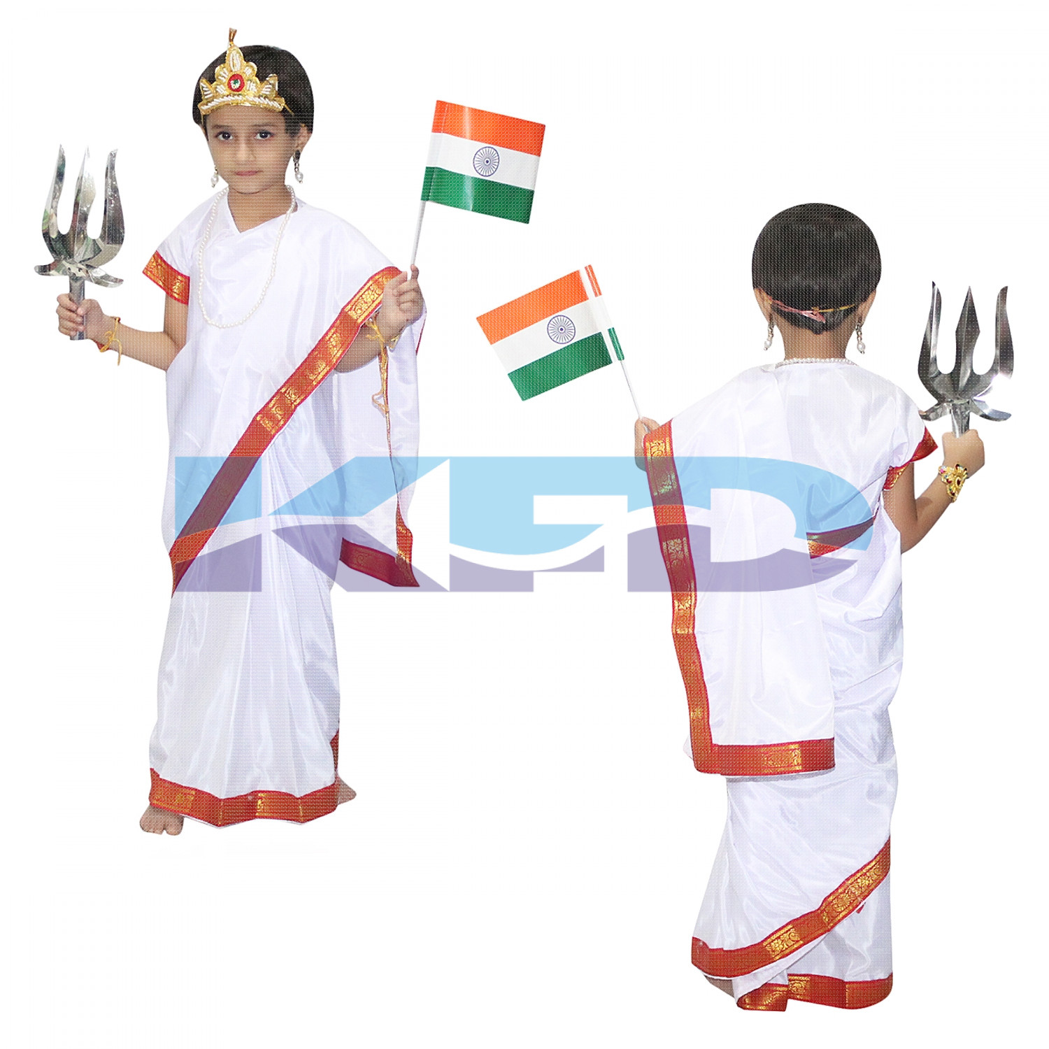 Bharat Mata fancy dress for kids,National Hero Costume for School Annual function/Theme Party/Competition/Stage Shows Dress