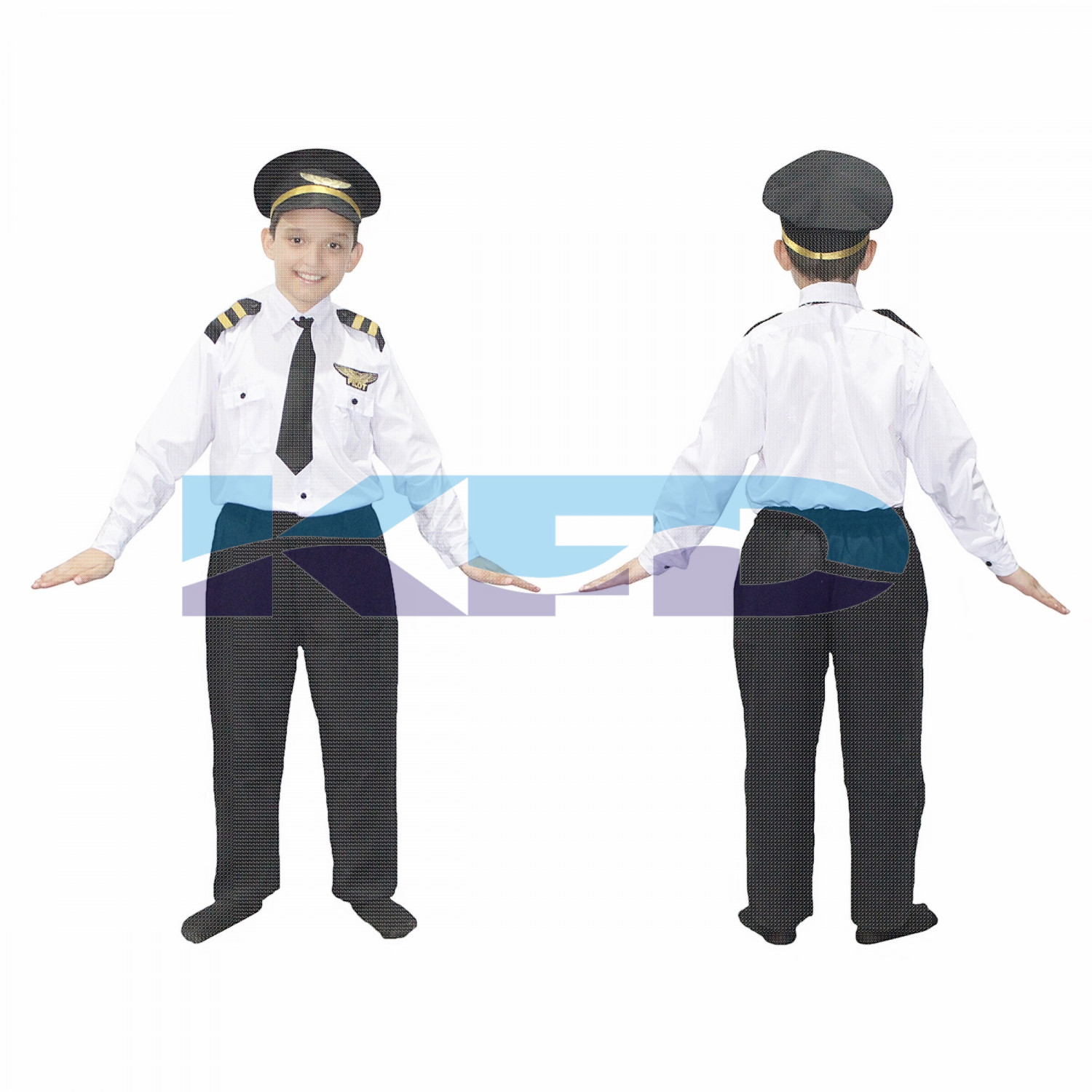 Pilot With Black Cap Our Helper Costume For Kids School Annual Function/Theme Party/Competition/Stage Shows Dress