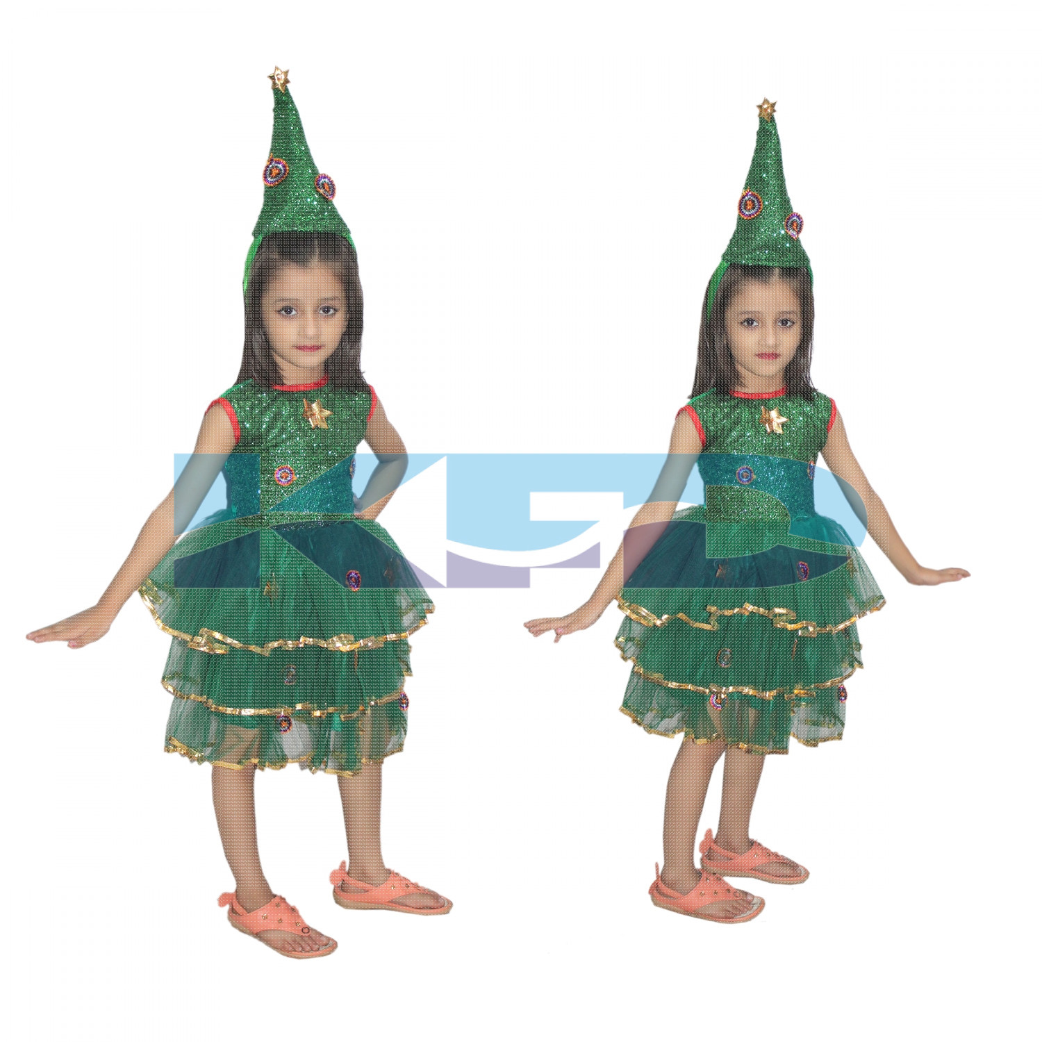 Christmas Tree Girl fancy dress for kids,Christmas Day Costume for Annual function/Theme Party/Competition/Stage Shows/Birthday Party Dress