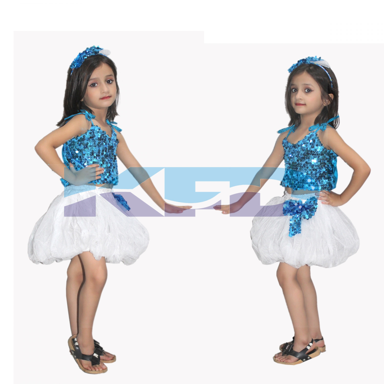 Firozi Silver Skirt Top Set Western Dance Dress For kids,Costume For School Annual function/Theme Party/Competition/Stage Shows Dress/Birthday Party Dress