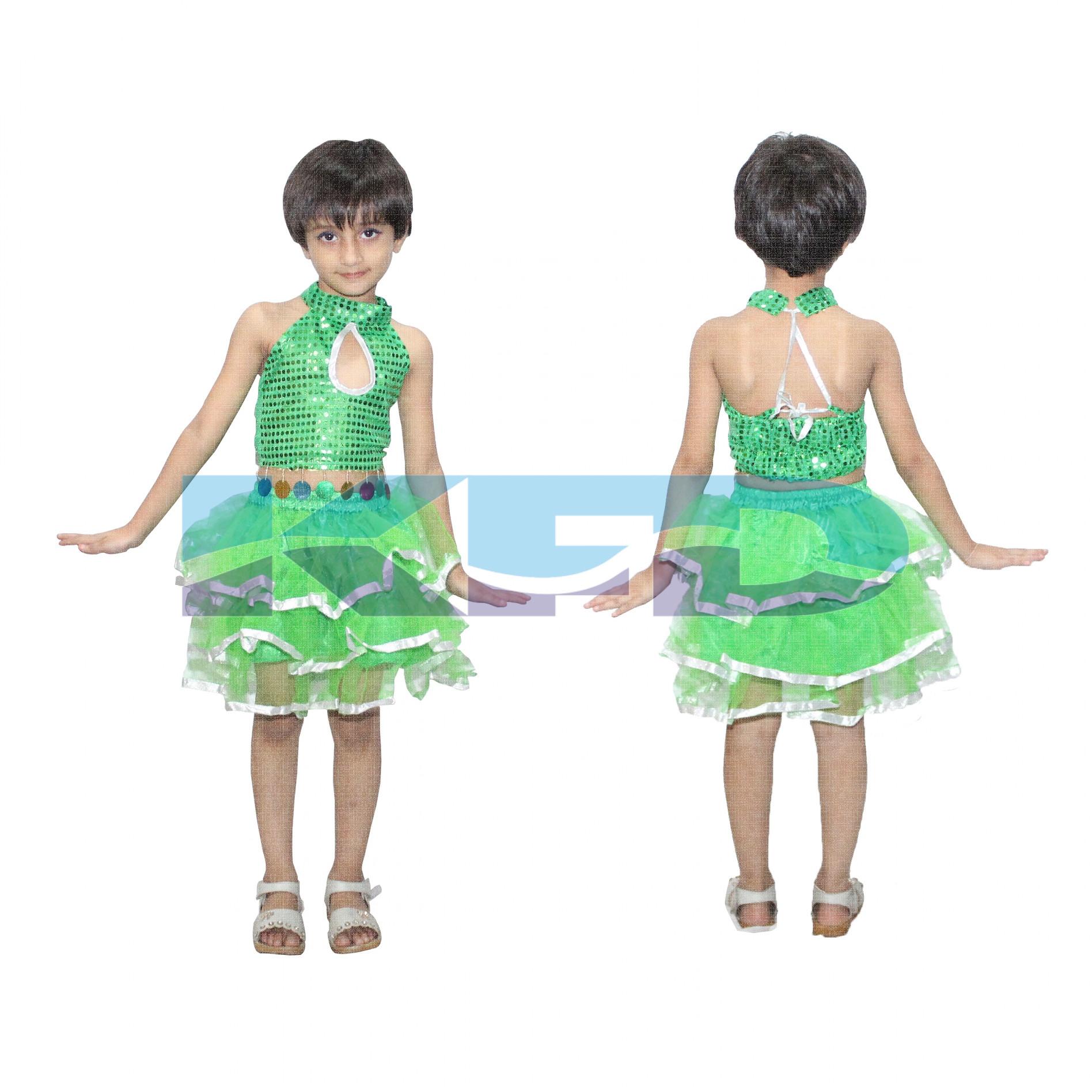 Green Silver Skirt Top For Girls