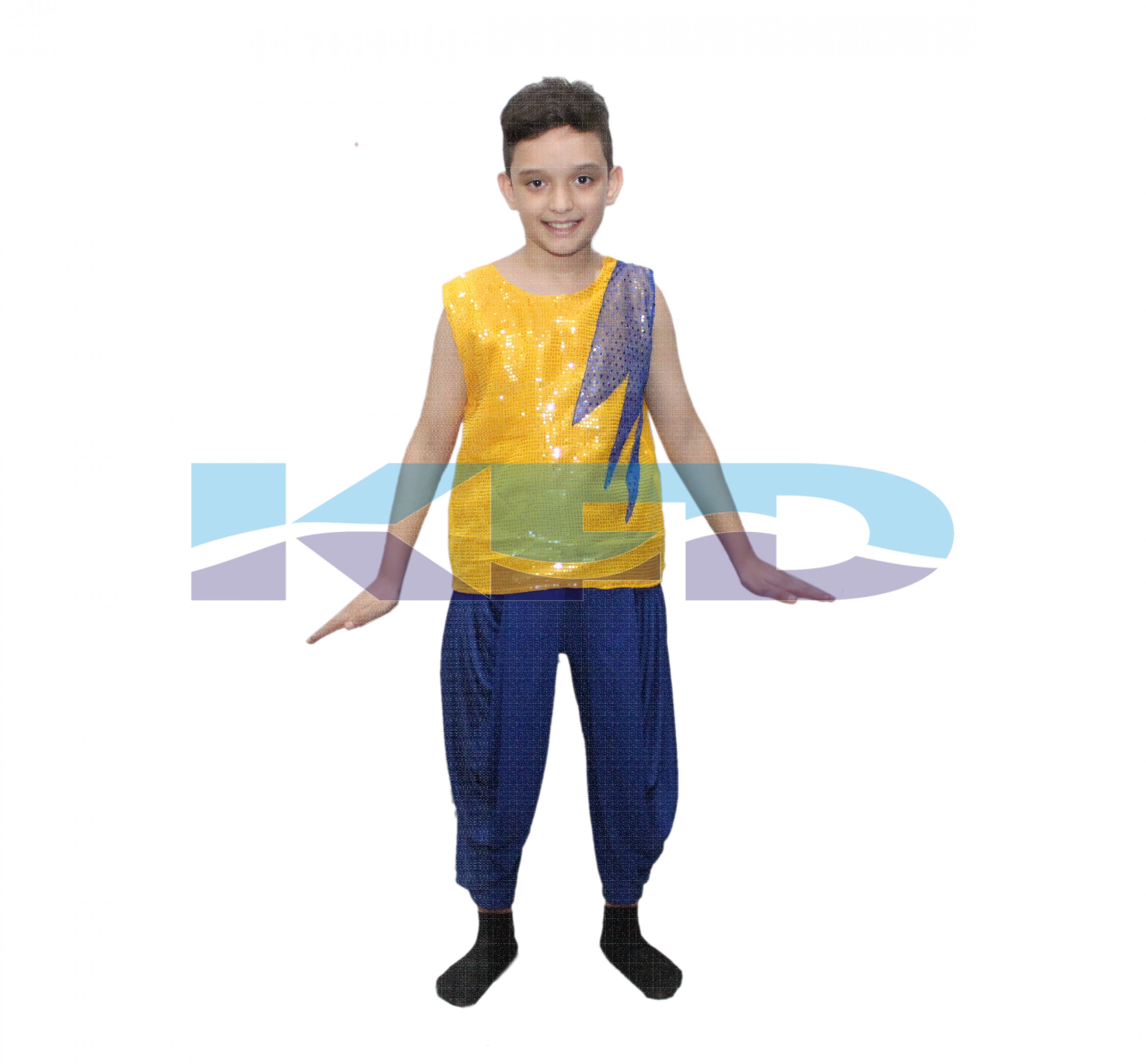 Yellow T Shirt Blue Patch Fancy Dress For Kids/Western Dress/School Annual Functions And Theme Party