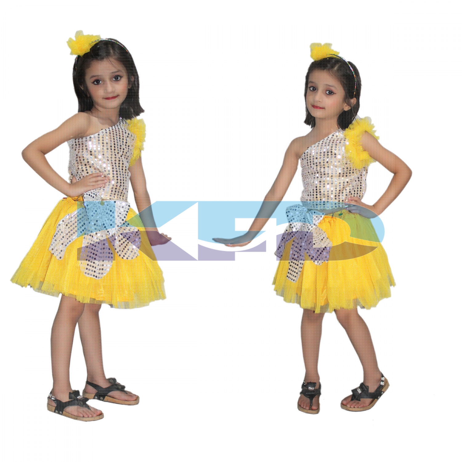 Yellow Silver Skirt Top Set Western Dance Dress For kids,Costume For School Annual function/Theme Party/Competition/Stage Shows Dress/Birthday Party Dress