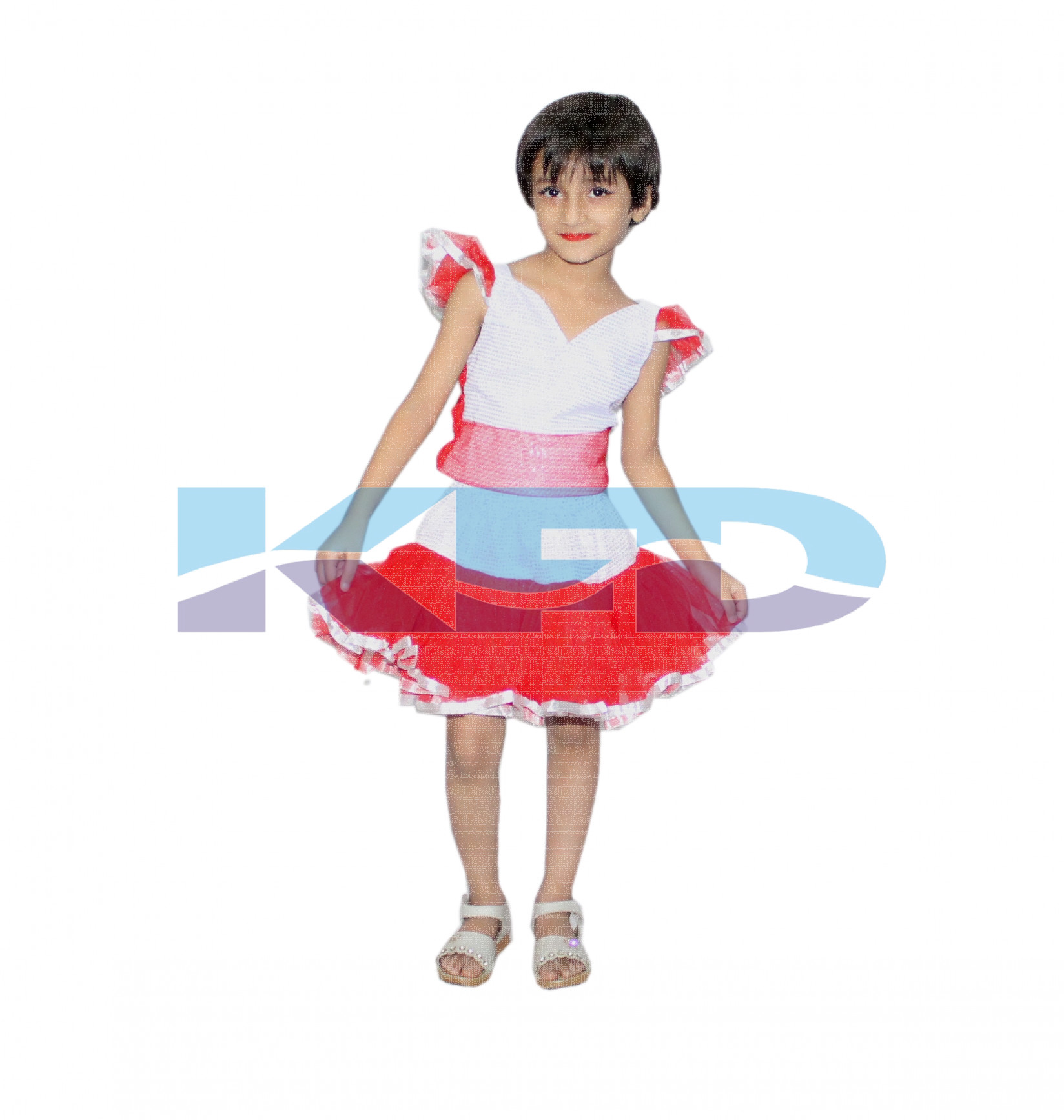 Red Silver Girl Western Dance Dress For kids,Costume For School Annual function/Theme Party/Competition/Stage Shows Dress/Birthday Party Dress