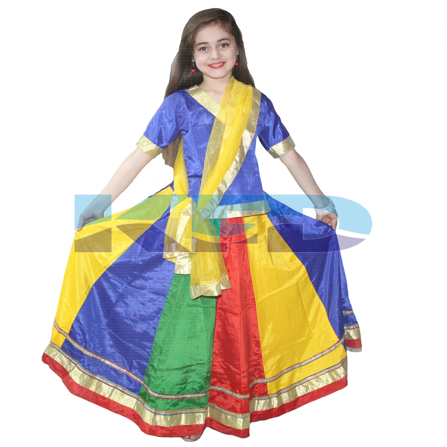 Multicolor Lehenga Indian State Traditional Wear Costume For Kids School Annual function/Theme Party/Competition/Stage Shows/Birthday Party Dress