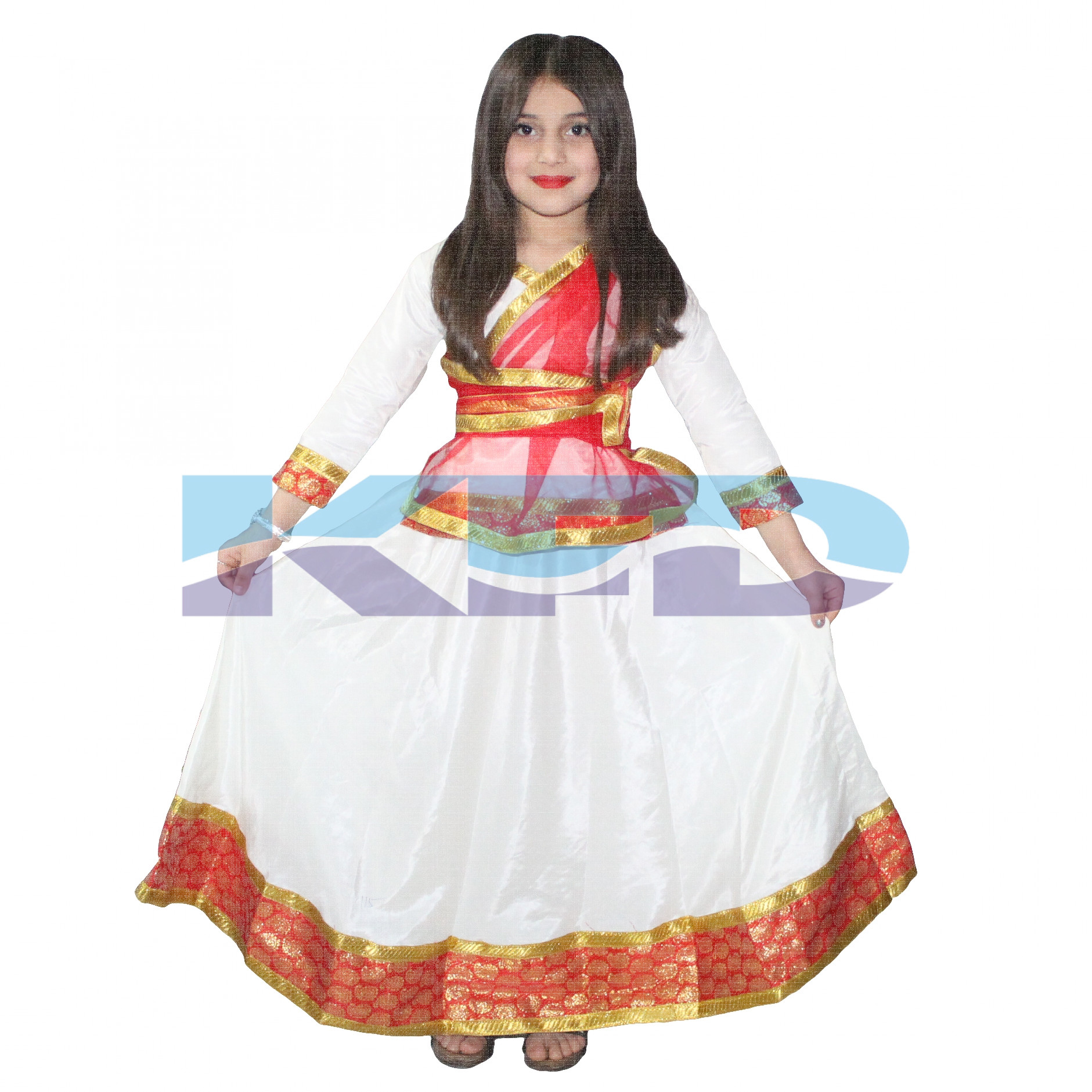 Kathak Cream Lehenga For Girls/Dance Costume/Classical Dancewear/Kathak Dance Costume/Theme Party/Competition/Stage Shows/Birthday Party Dress