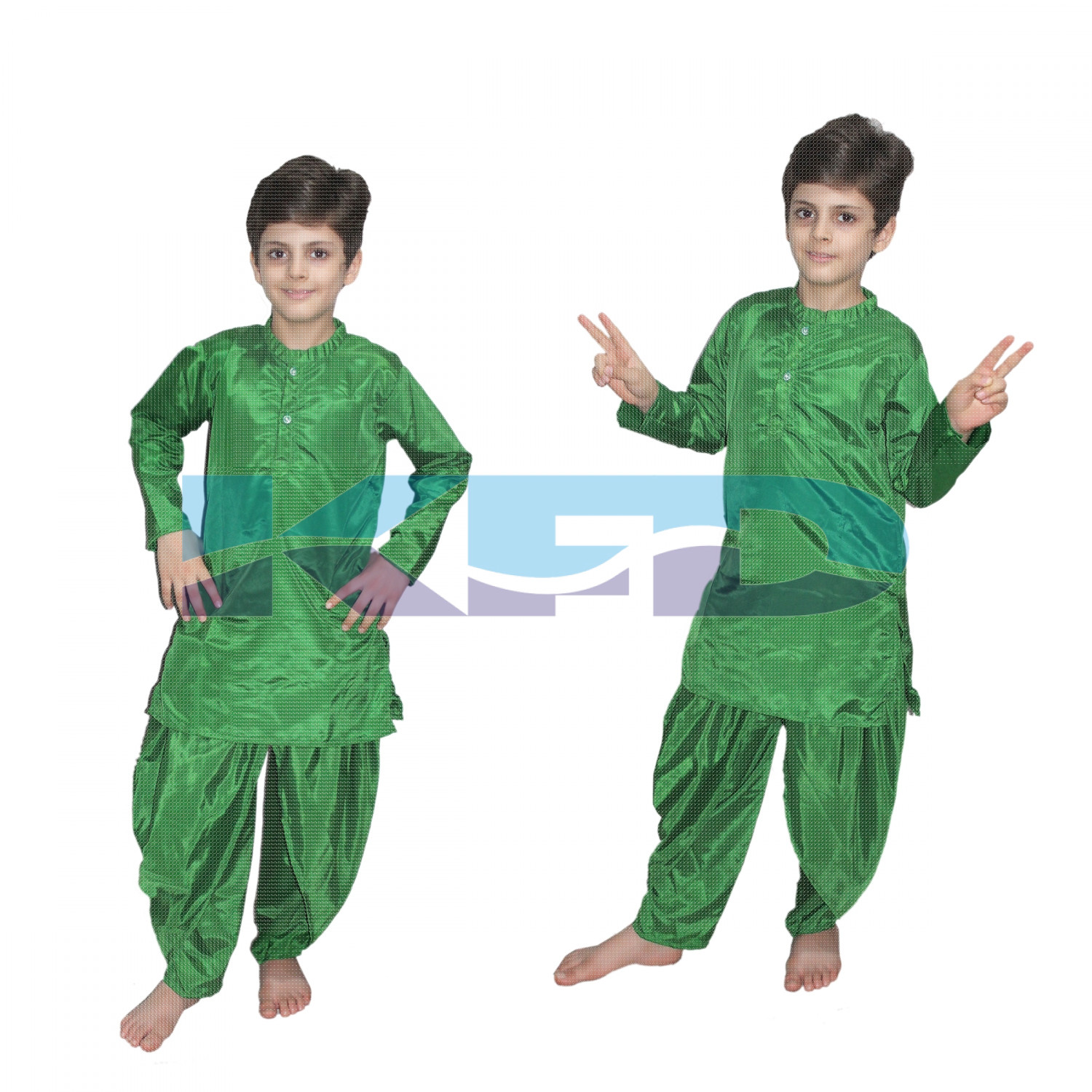 Green Dhoti Kurta For kids,Costume of Indian State Traditional Wear For School Annual function/Theme Party/Competition/Stage Shows/Birthday Party Dress