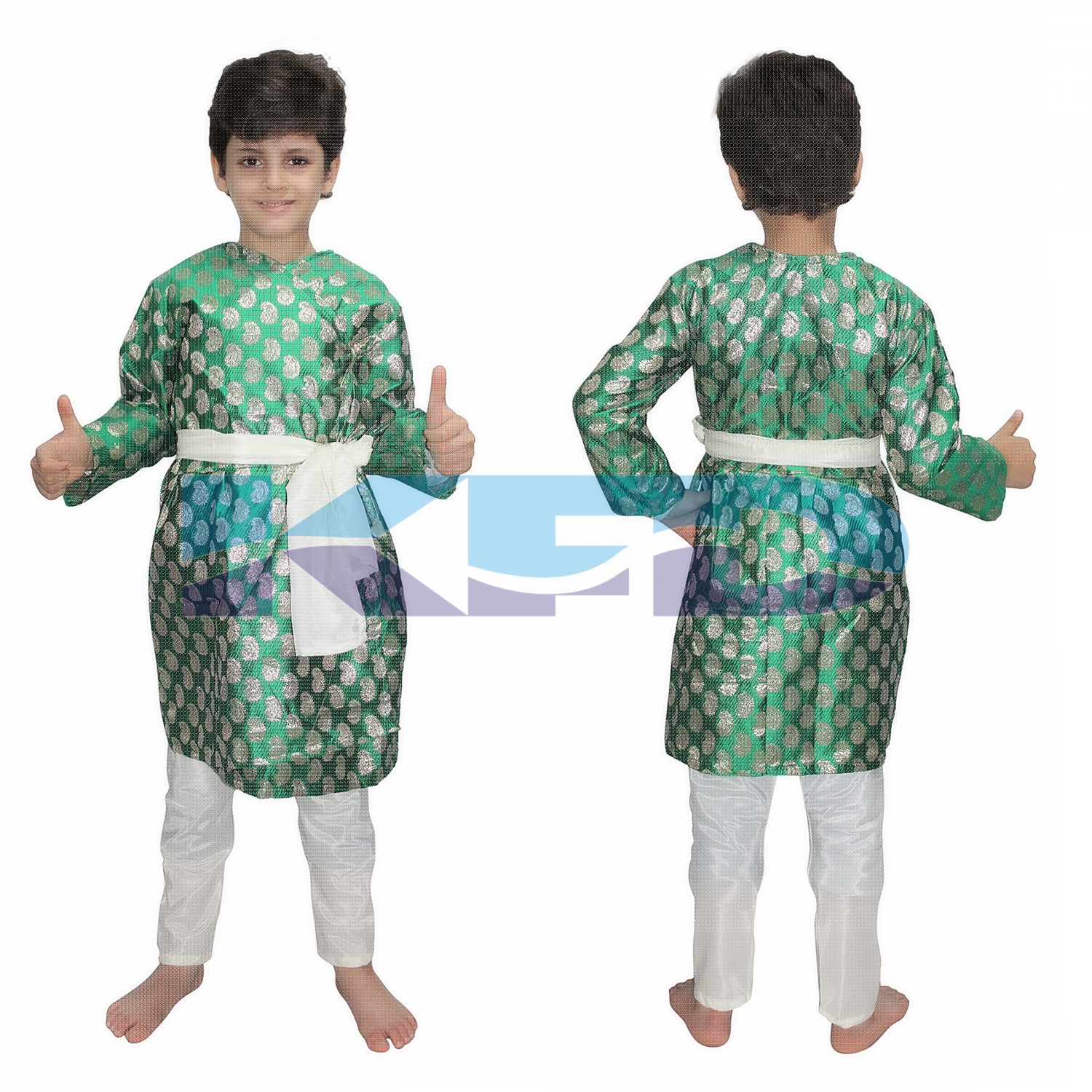 Gujrati Boy Green Color fancy dress for kids,Indian State Traditional Wear for Annual function/Theme party/Competition/Stage Shows Dress