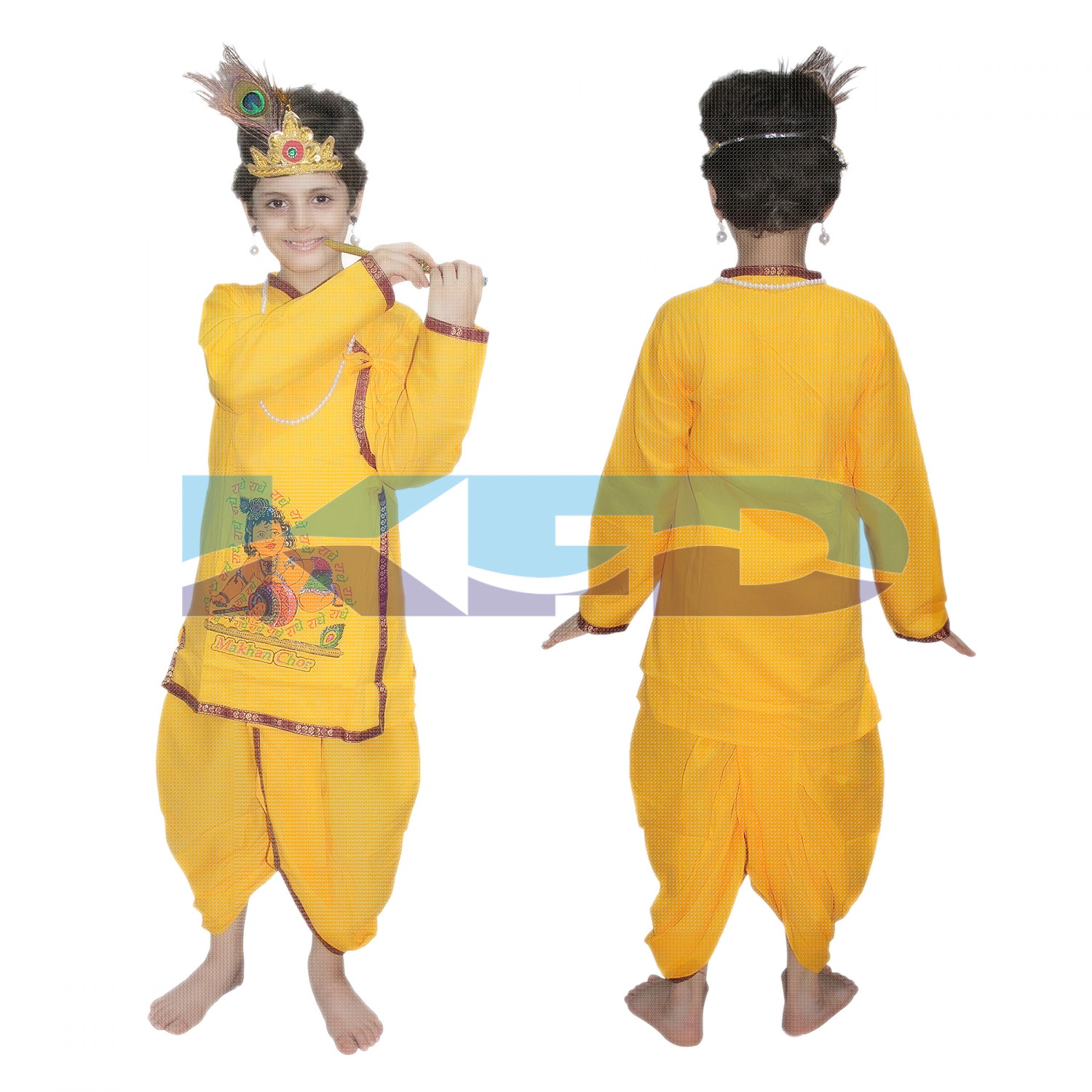 Krishna in Cotton Without Jewellery fancy dress for kids,Krishnaleela/Janmashtami/Kanha/Mythological Character for Annual functionTtheme Party/Competition/Stage Shows Dress