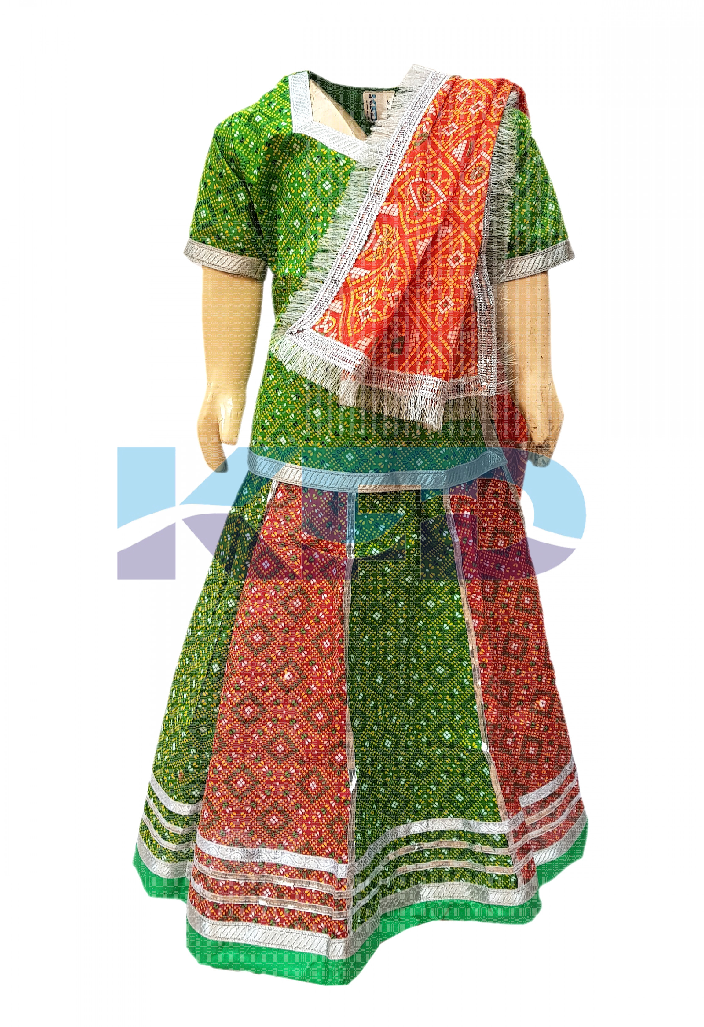 Radha/Rajasthani cotton lehenga fancy dress for kids,Indian State Traditional Wear for Annual function/Theme Party/Competition/Stage Shows/Birthday Party Dress