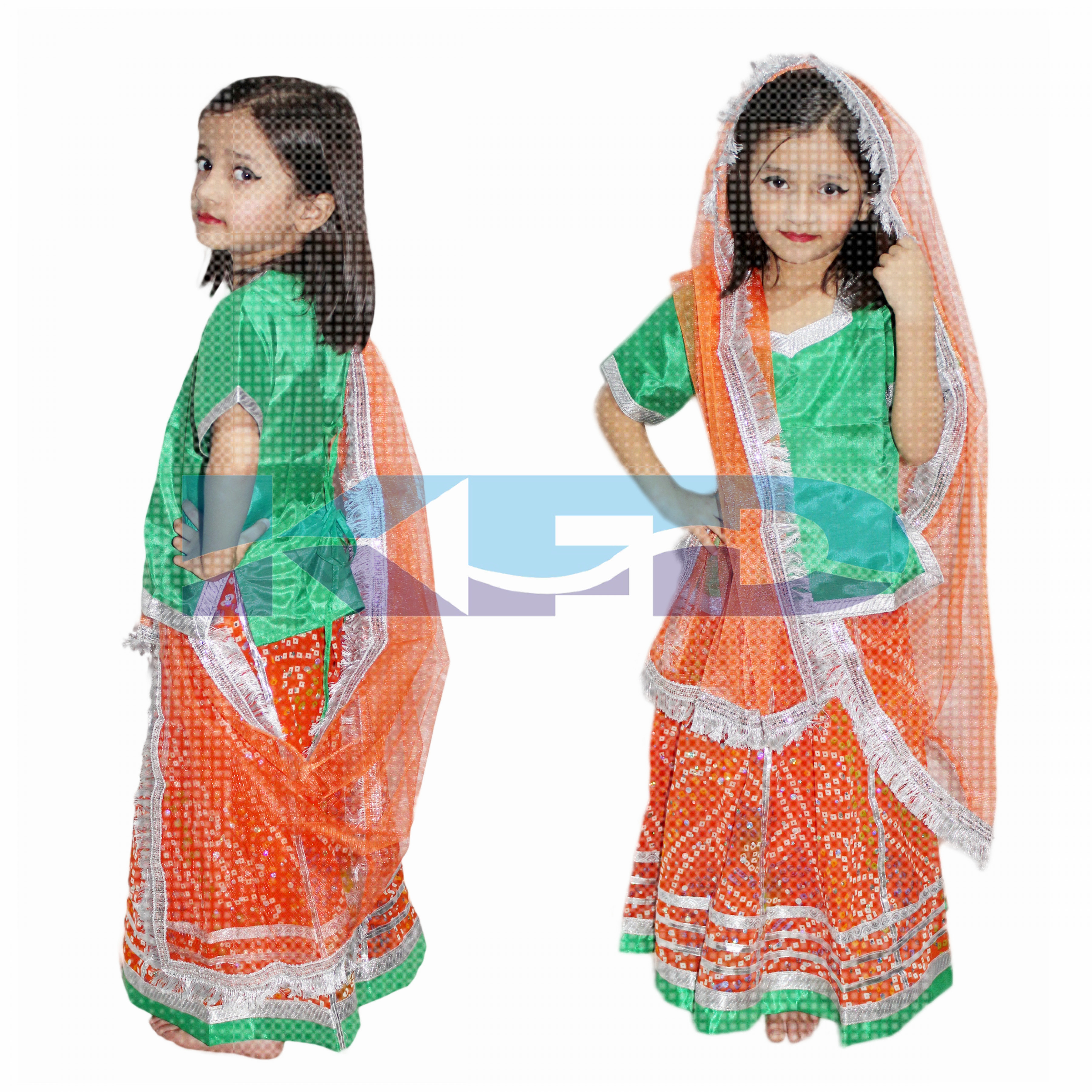 Radha/Rajasthani Lehenga fancy dress for kids,Indian State Traditional Wear Costume for Annual function/Theme Party/Competition/Stage Shows/Birthday Party Dress