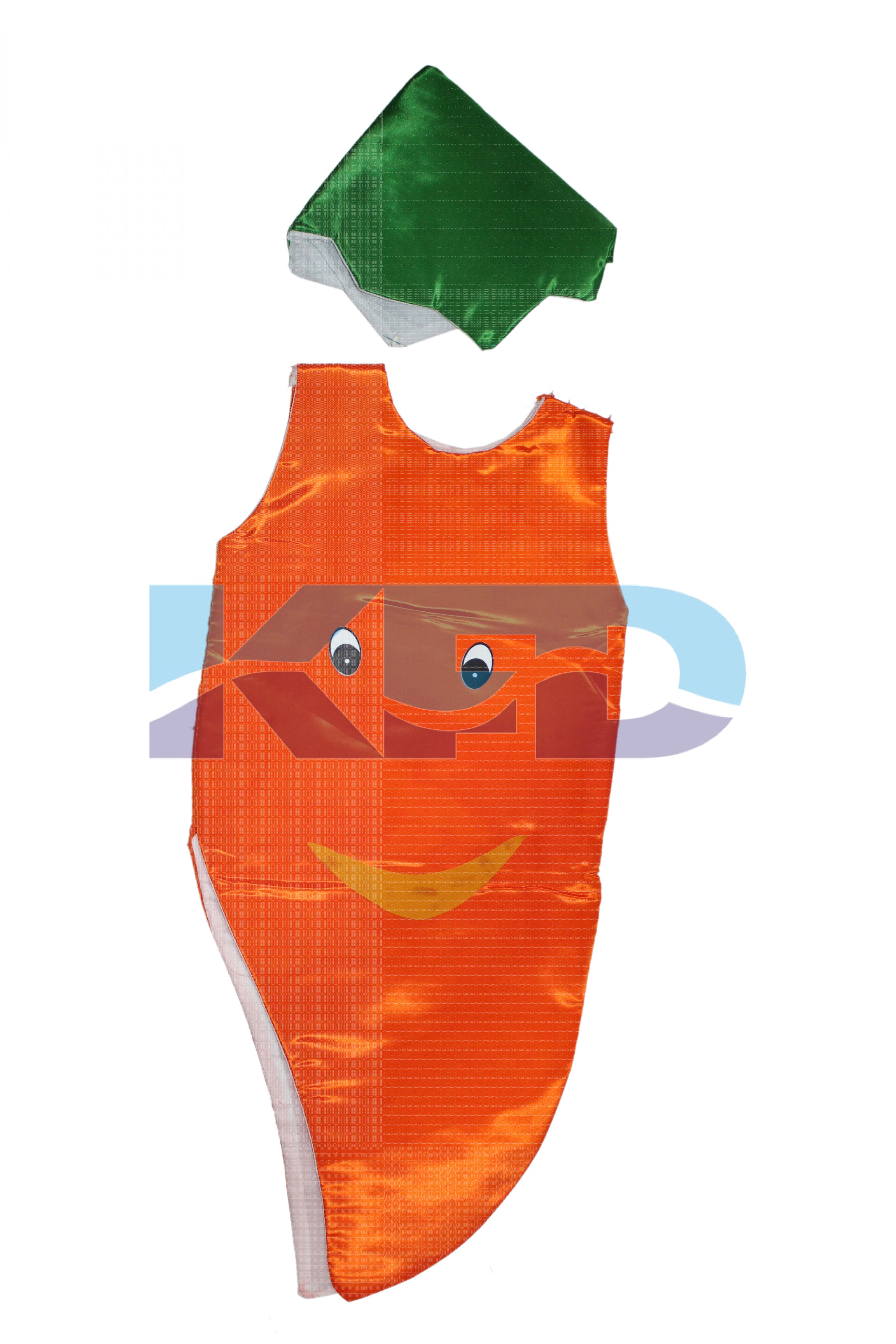 Carrot Fruits Costume only cutout with Cap for Annual function/Theme Party/Competition/Stage Shows/Birthday Party Dress