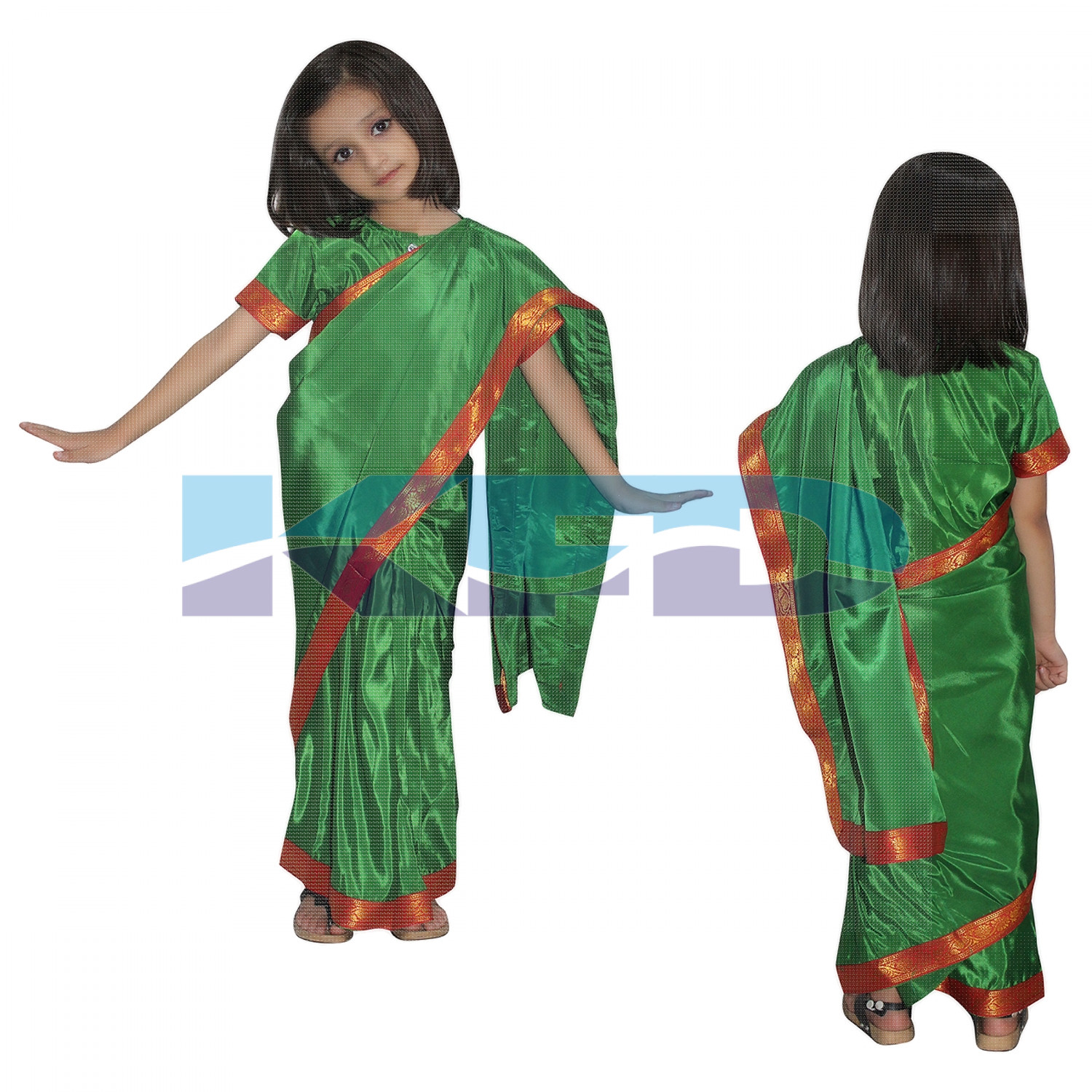 Teacher Saree In Green Color,Indian State Traditional Costume For School Annual function/Theme Party/Competition/Stage Shows/Birthday Party Dress