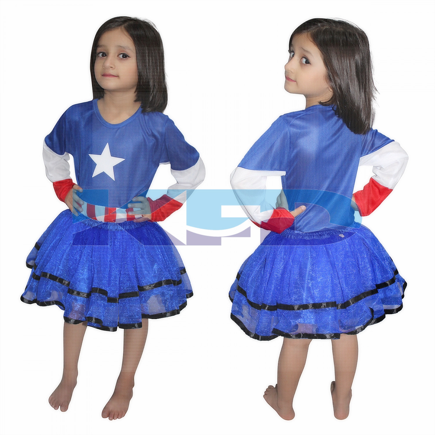 Captain America Girl/Brave American Soldier Super Hero Costume For Girl,CosPlay Costume,California Costume School Annual function/Theme Party/Competition/Stage Shows/Birthday Party Dress