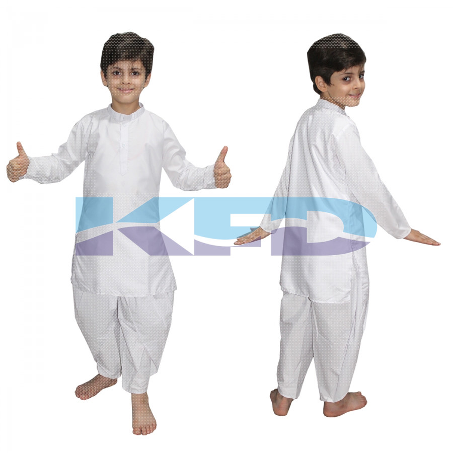 White Dhoti Kurta Costume Of Indian State Traditional Wear For School Annual function/Theme Party/Competition/Stage Shows/Birthday Party Dress