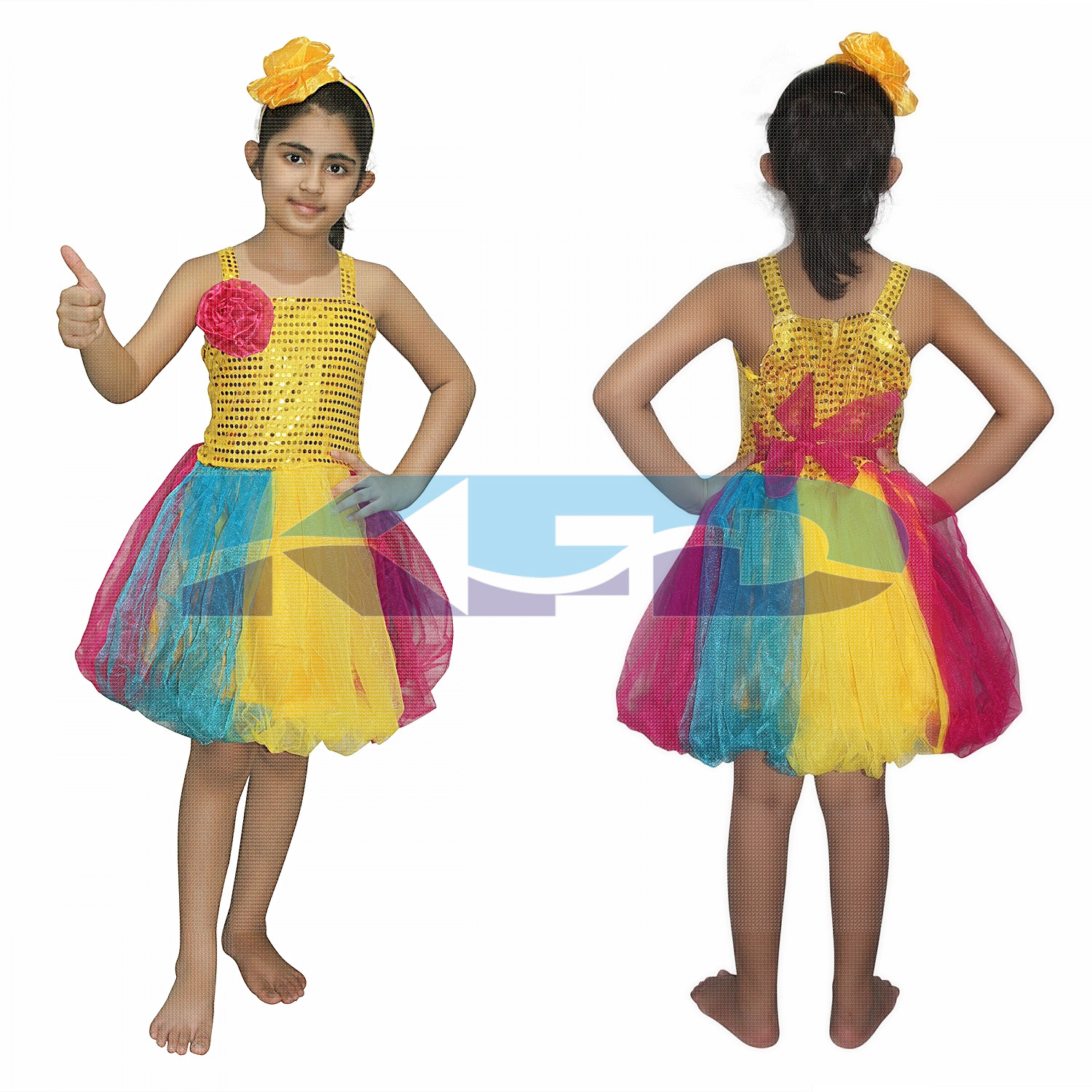 Multicolor Frock,Western Costume For School Annual function/Theme Party/Competition/Stage Shows/Birthday Party Dress