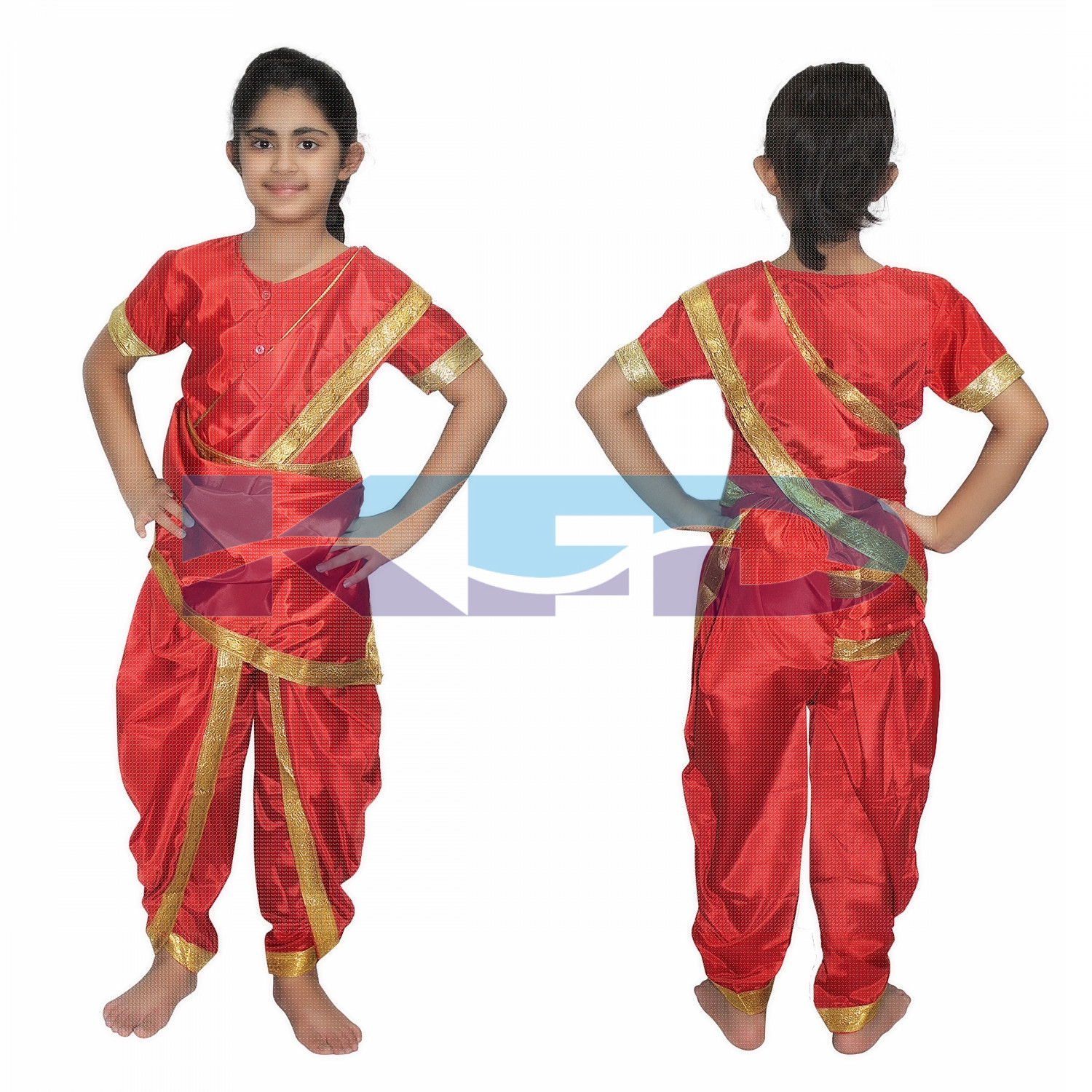 Marathi Girl Red Indian State Traditional Wear Costume For School Annual function/Theme party/Competition/Stage Shows/Birthday Party Dress