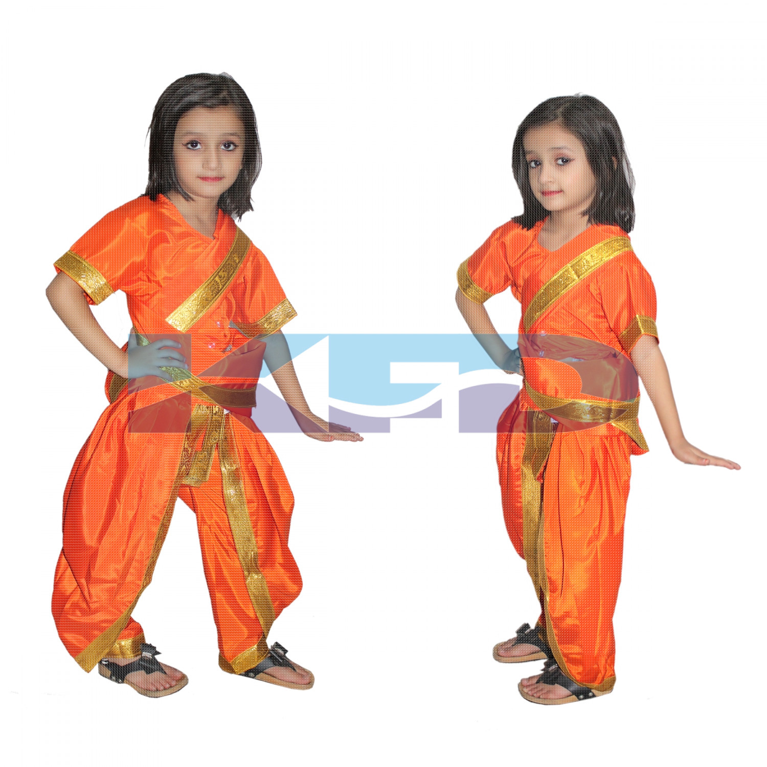 Marathi Girl Orange Indian State Traditional Wear Costume For School Annual function/Theme party/Competition/Stage Shows/Birthday Party Dress
