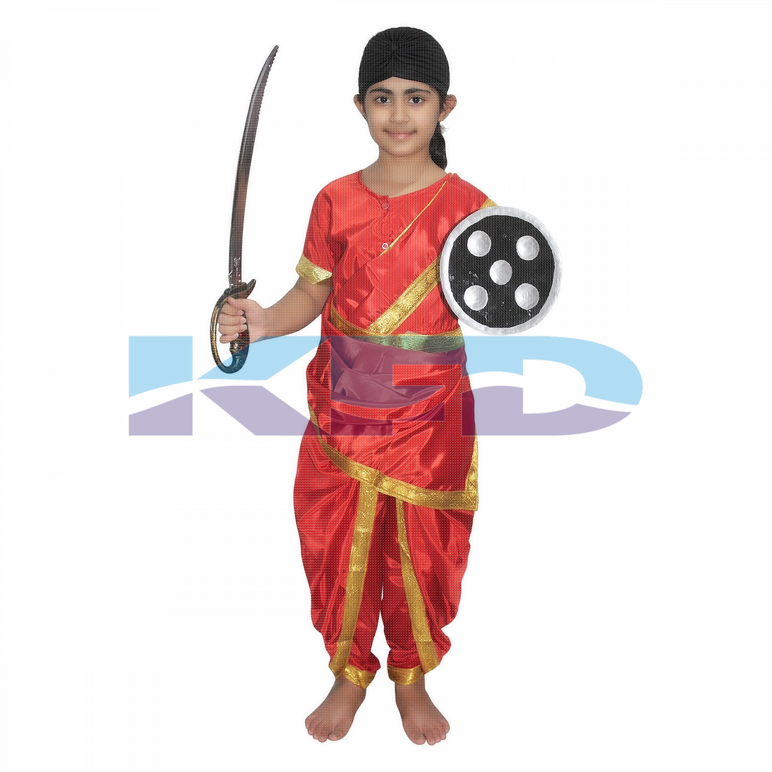 Rani Laxmi Bai Red National Hero/freedom figter Costume for Independence Day/Republic Day/Annual function/theme party/Competition/Stage Shows Dress