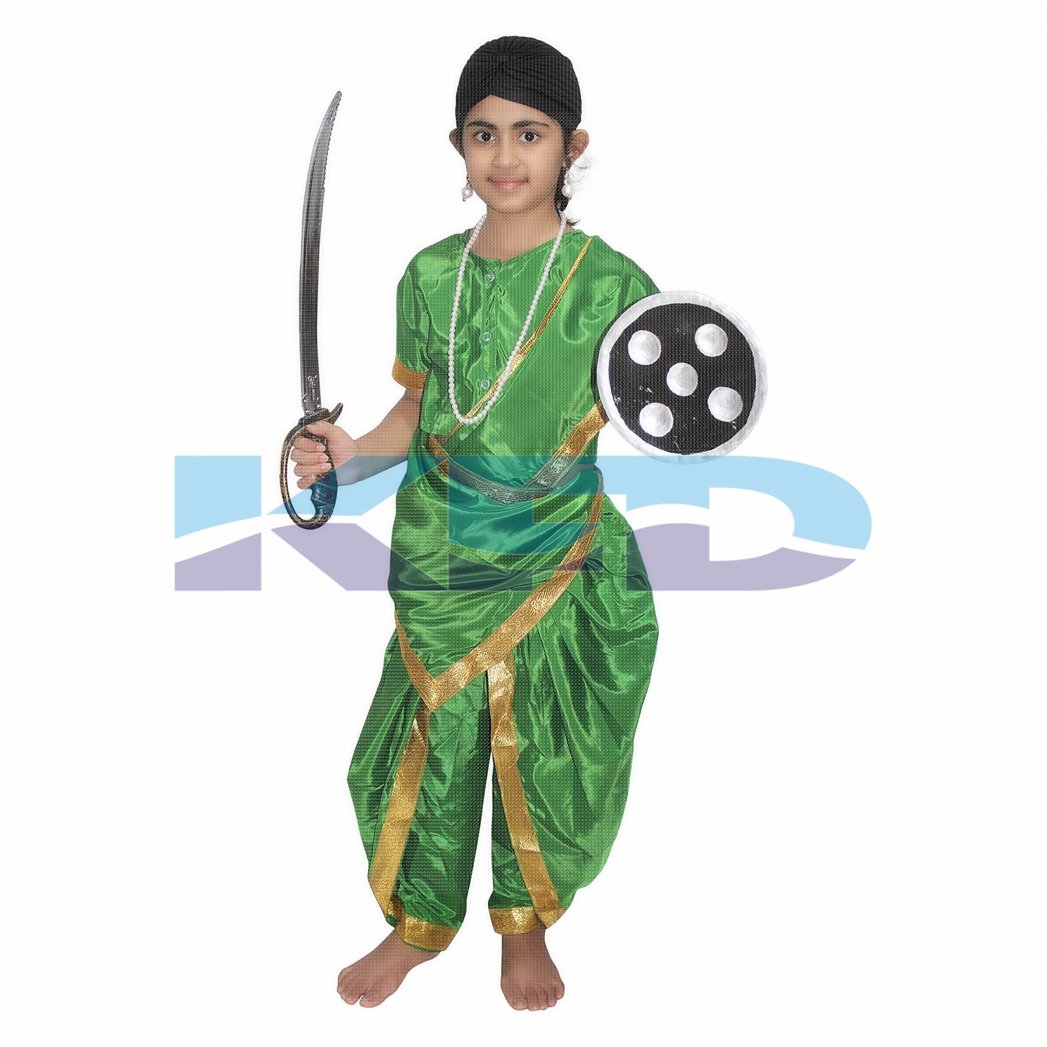 Rani Laxmi Bai Green National Hero/freedom figter Costume for Independence Day/Republic Day/Annual function/theme party/Competition/Stage Shows Dress