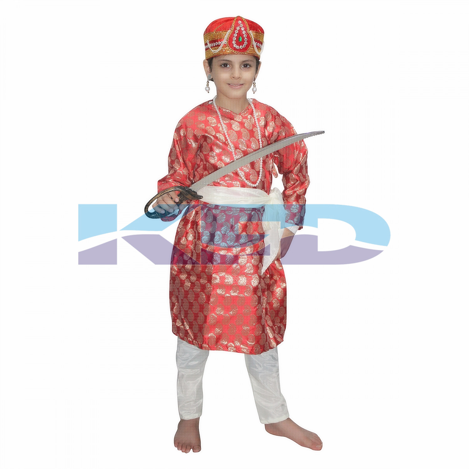 Akbar Red The Great Mughal King Costume For Kids,Costume of Indian Historical Character For School Annual function/Theme Party/Stage Shows/Competition/Birthday Party Dress