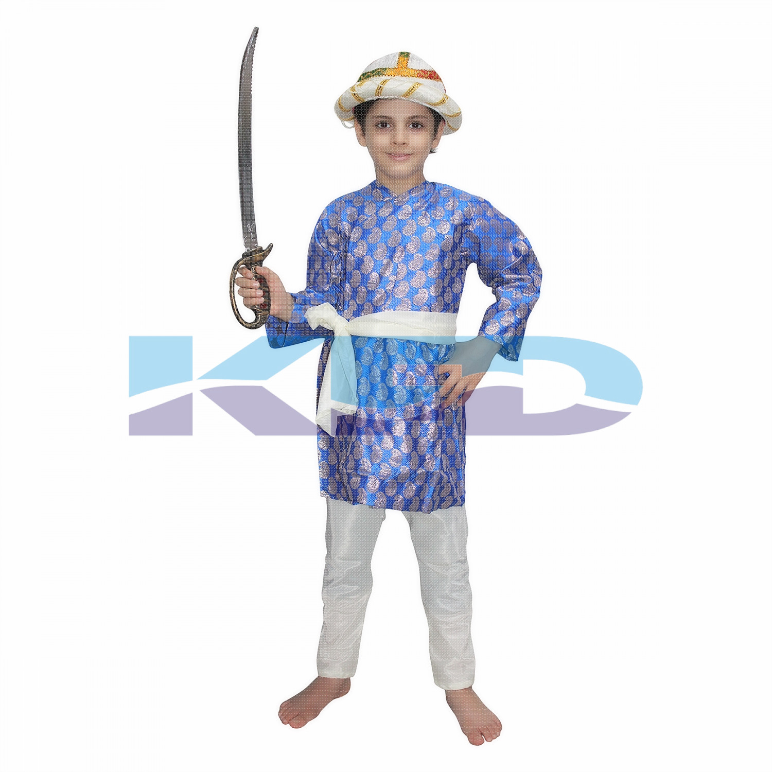 Tipu Sultan Blue Costume For Kids,Indian Historical Character Costume For School Annual function/Theme Party/Stage Shows/Competition/Birthday Party Dress