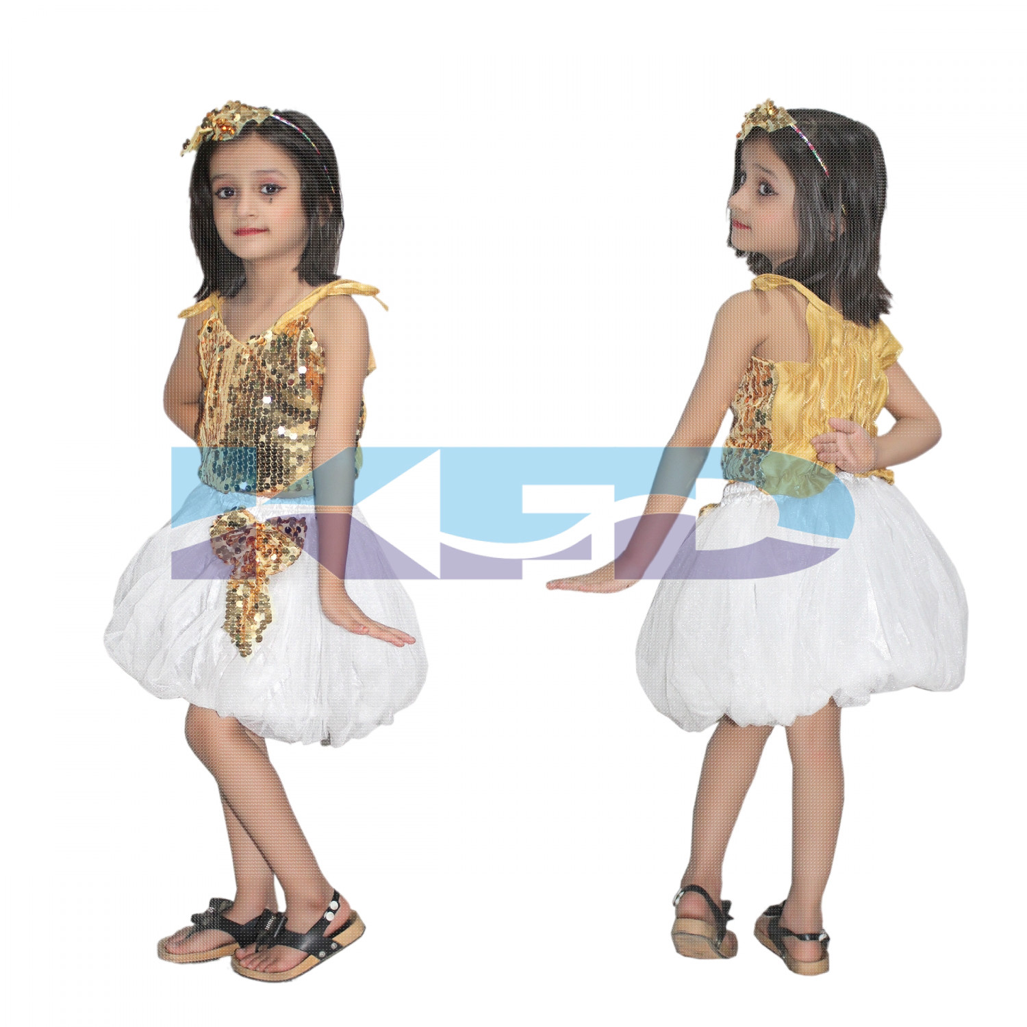 Golden Silver Skirt Top Set Western Dance Dress For kids,Costume For School Annual function/Theme Party/Competition/Stage Shows Dress/Birthday Party Dress