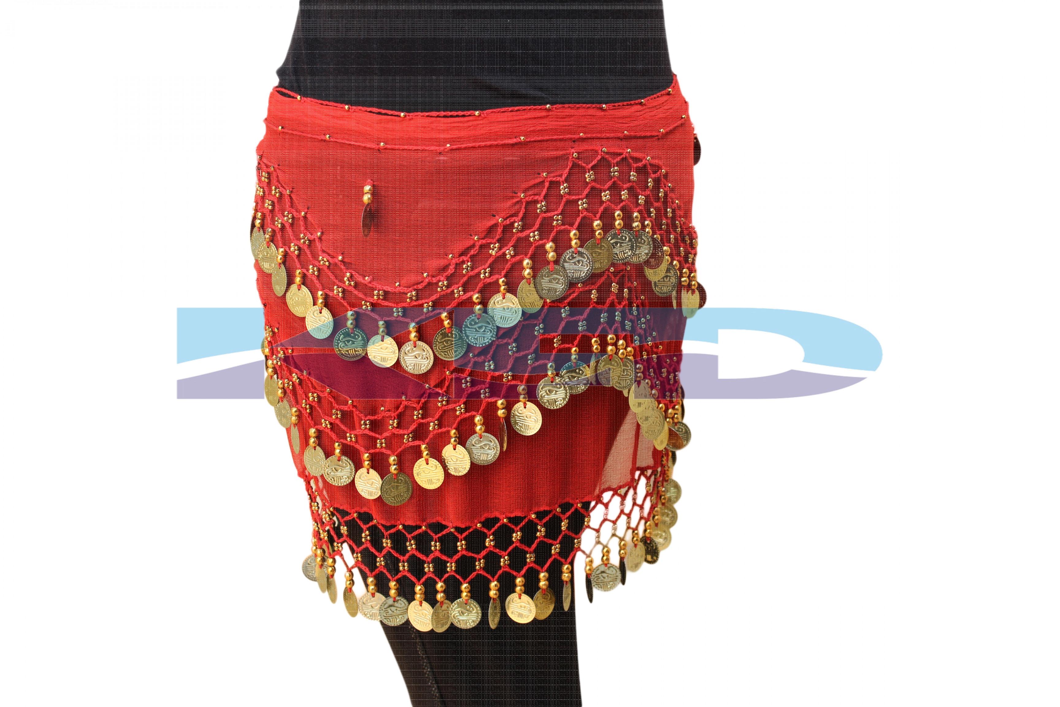 Belly Dance Belt Red Golden Lahariya