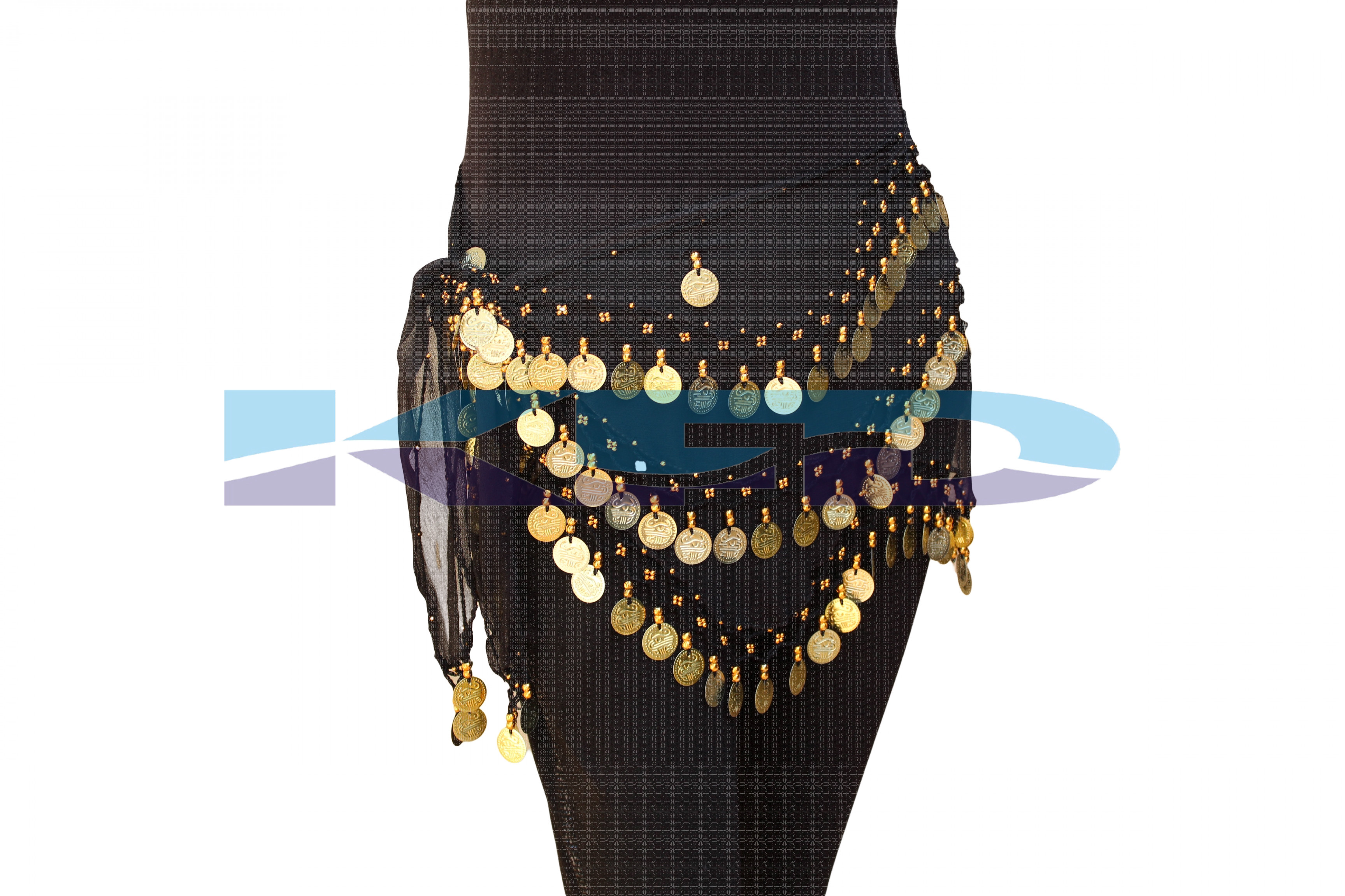 Belly Belt Black Golden Cutting