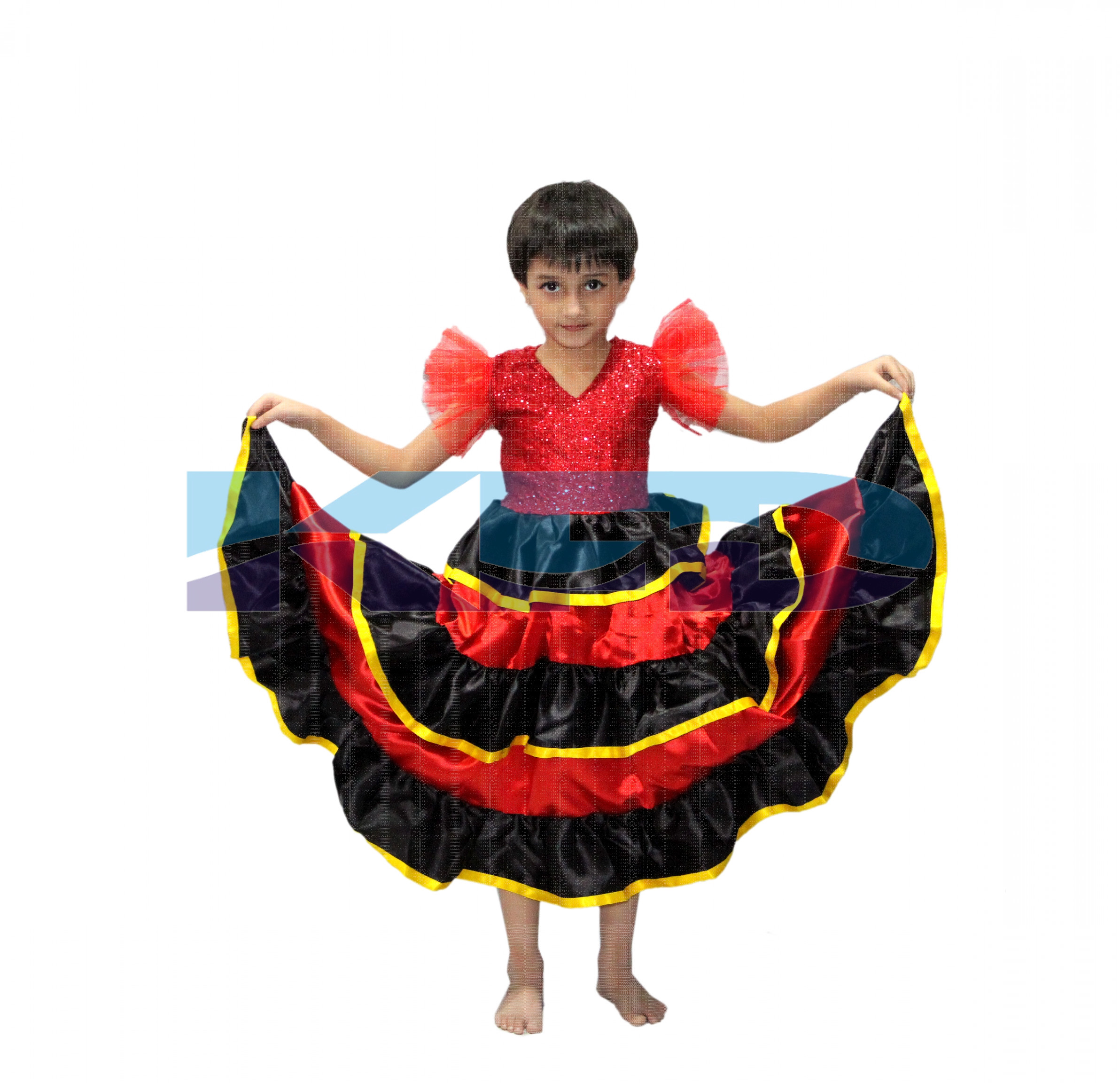 Spanish Gown/Senorita Gown/Flamingo Gown/Kids Flamenco Skirts Spanish Flamenco Dance For Girl/Spanish Senrite Flamenco Dancer Fancy Dress Costume/ School Annual function/Theme Party/Competition/Stage Shows/Birthday Party Dress