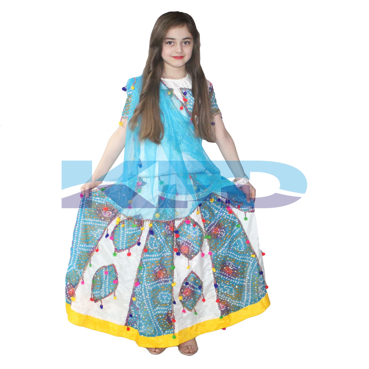 Gujrati Girl Cream Costume For Kids/Traditional Gujrati Dress For Girls/Navratri Garba Dress/For Kids Annual function/Theme Party/Competition/Stage Shows/Birthday Party Dress