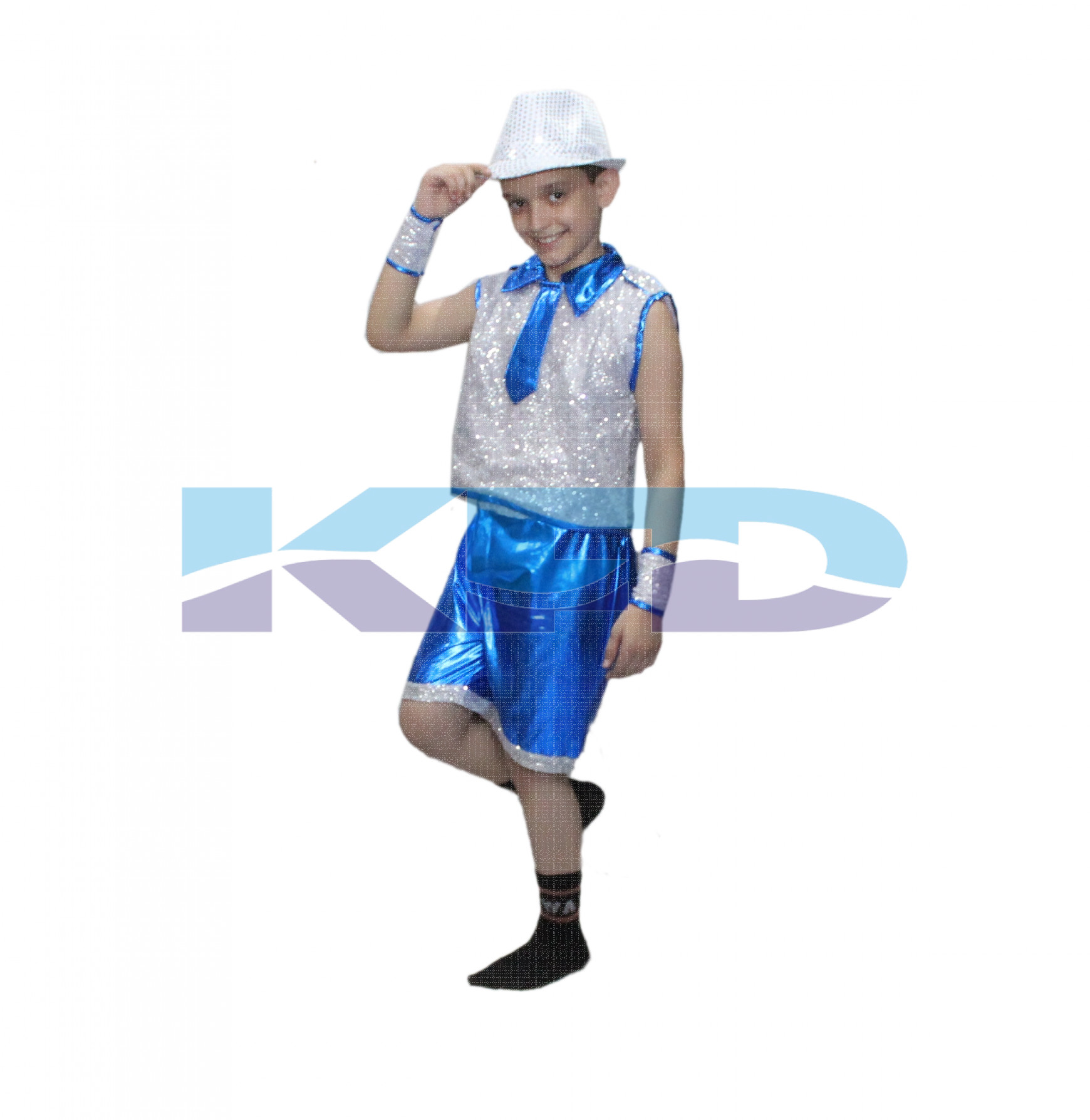 Blue Silver Lycra Western Dance Costume For Kids/School Annual function/Theme Party/Competition/Stage Shows/Birthday Party Dress
