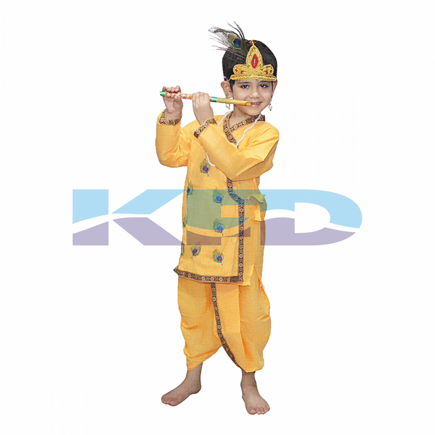 Krishna Pankh Without Jewellery fancy dress for kids,Krishnaleela/Janmashtami/Kanha/Mythological Character for Annual functionTtheme Party/Competition/Stage Shows Dress