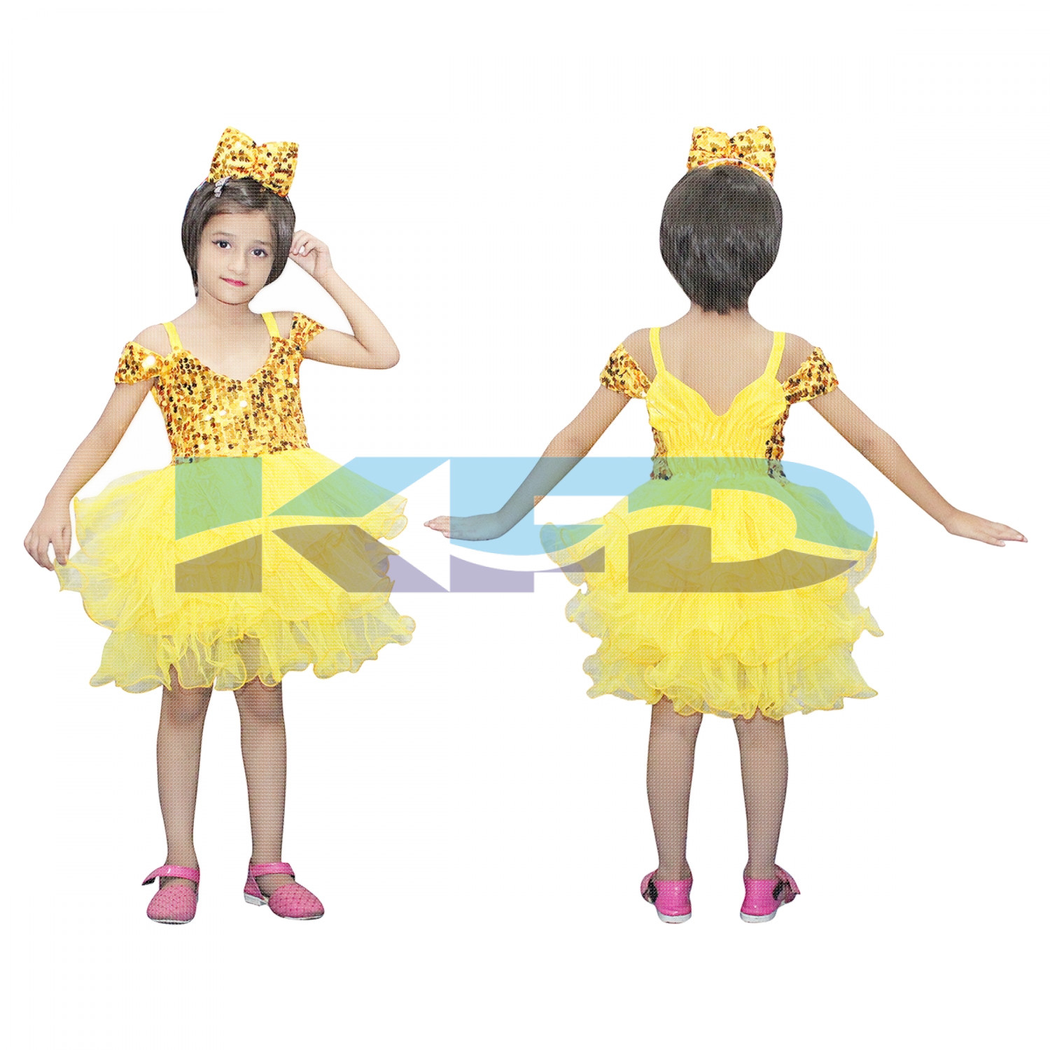 Yellow Frock,Western Costume For Kids School Annual function/Theme Party/Competition/Stage Shows/Birthday Party Dress