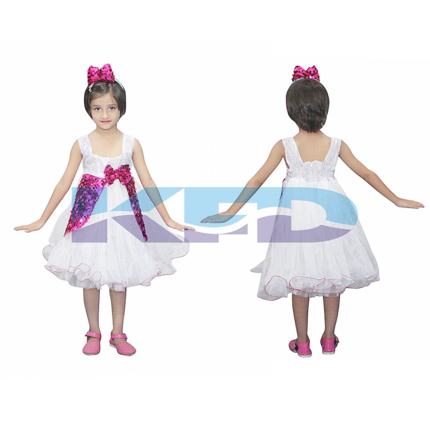 Magenta And White Frock,Western Costume For Kids School Annual function/Theme Party/Competition/Stage Shows/Birthday Party Dress