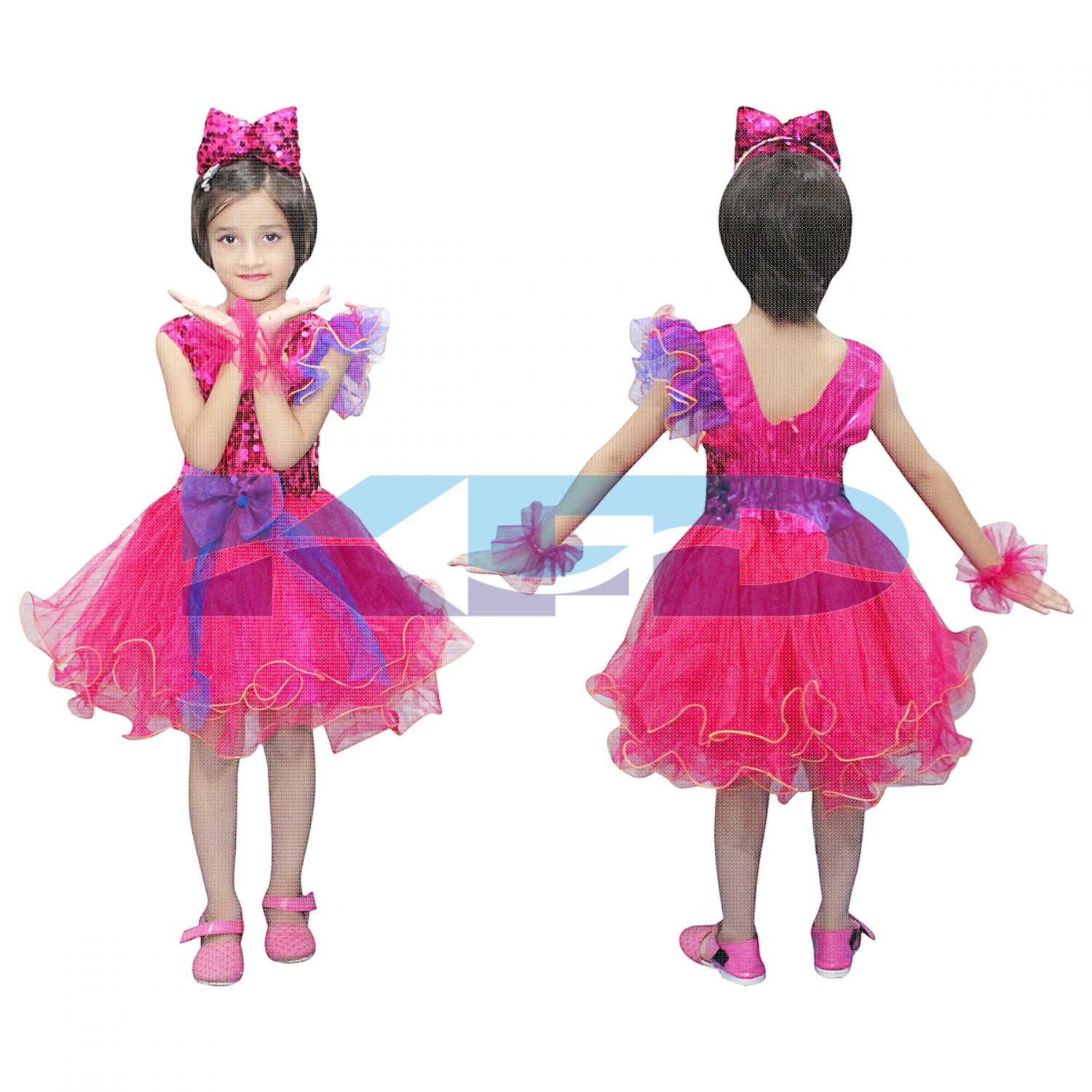 Magenta Frock,Western Costume For Kids School Annual function/Theme Party/Competition/Stage Shows/Birthday Party Dress