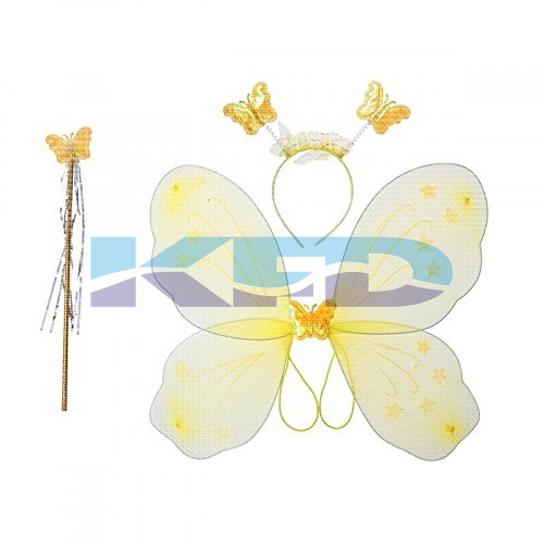 Yellow Butterfly Wings For Kids School Annual function/Theme Party/Competition/Stage Shows/Birthday Party Dress