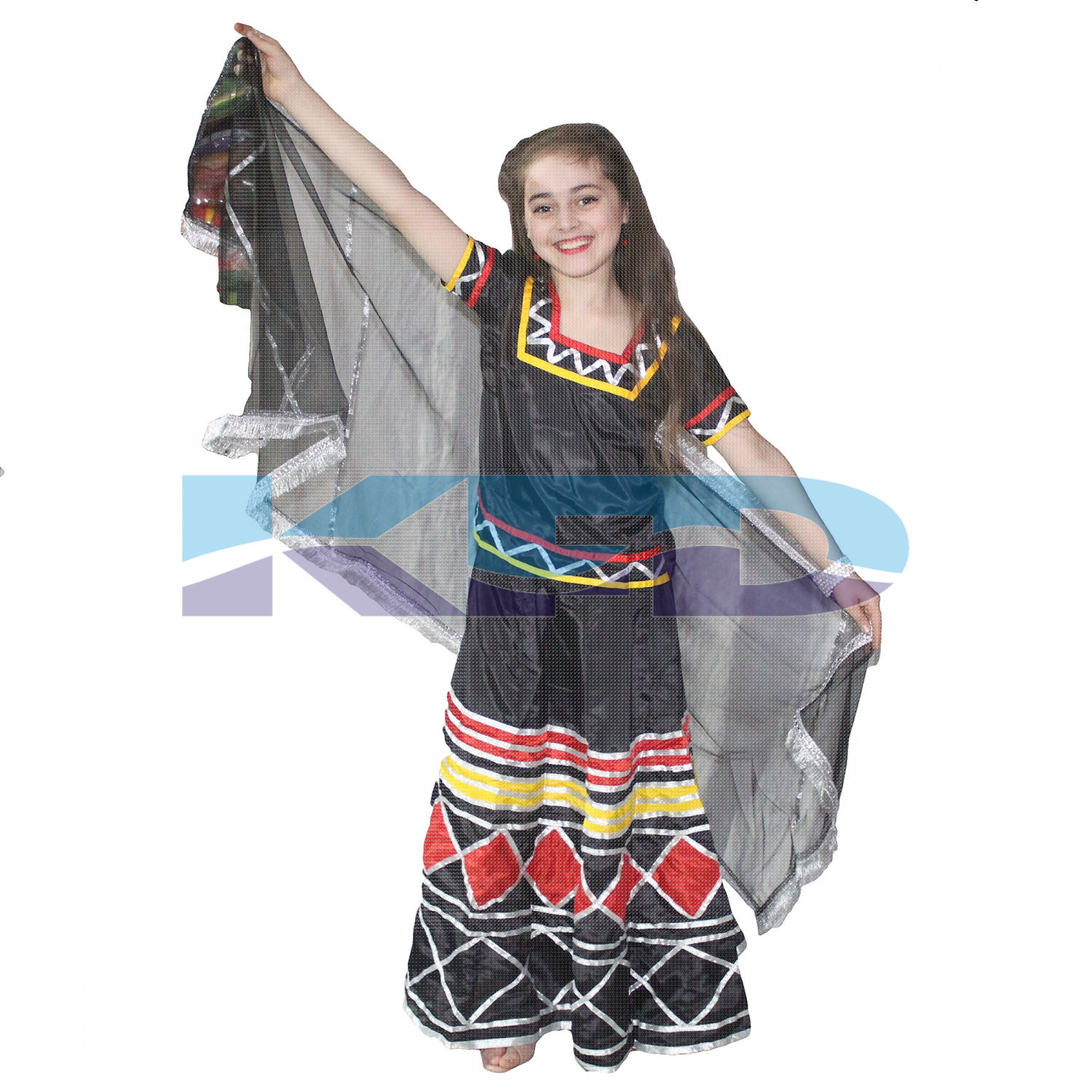 Kalbeliya Lehenga For Kids/folk dance Costume/Sapera Dance Costume For Kids/Snake Charmer Dance Costume For Kids/For Kids Annual function/Theme Party/Competition/Stage Shows/Birthday Party Dress