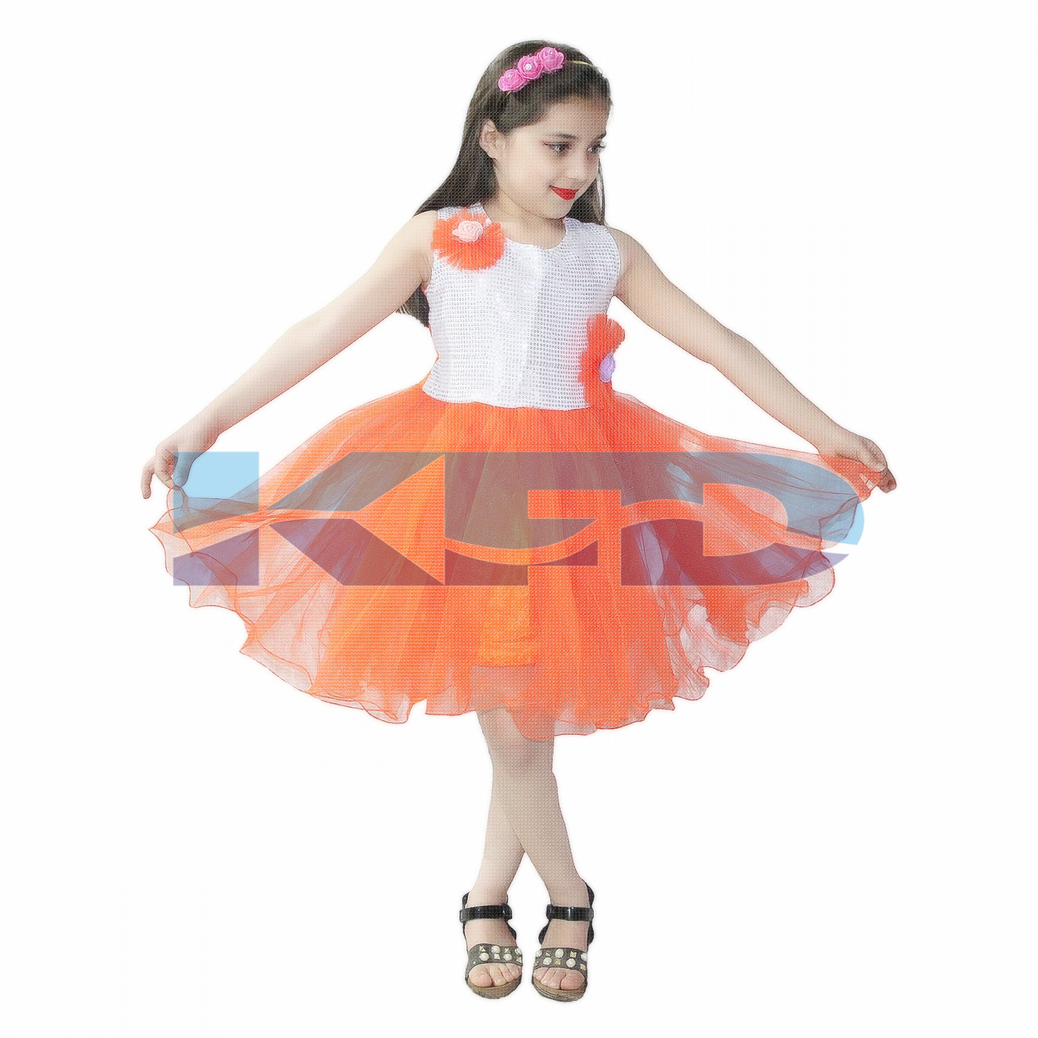 Orange Frock,Western Costume For Kids School Annual function/Theme Party/Competition/Stage Shows/Birthday Party Dress