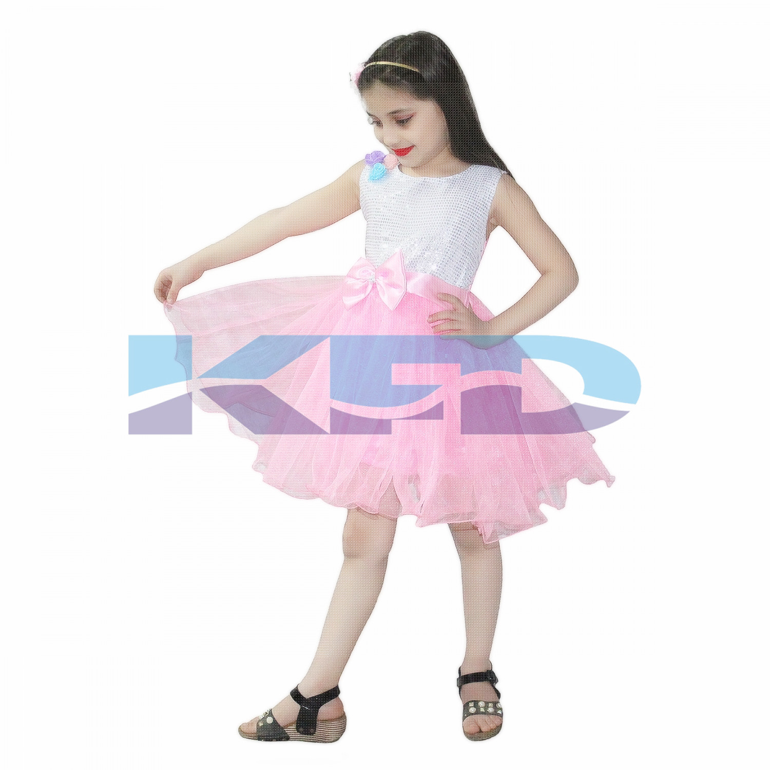 Silver And Pink Frock,Western Costume For Kids School Annual function/Theme Party/Competition/Stage Shows/Birthday Party Dress