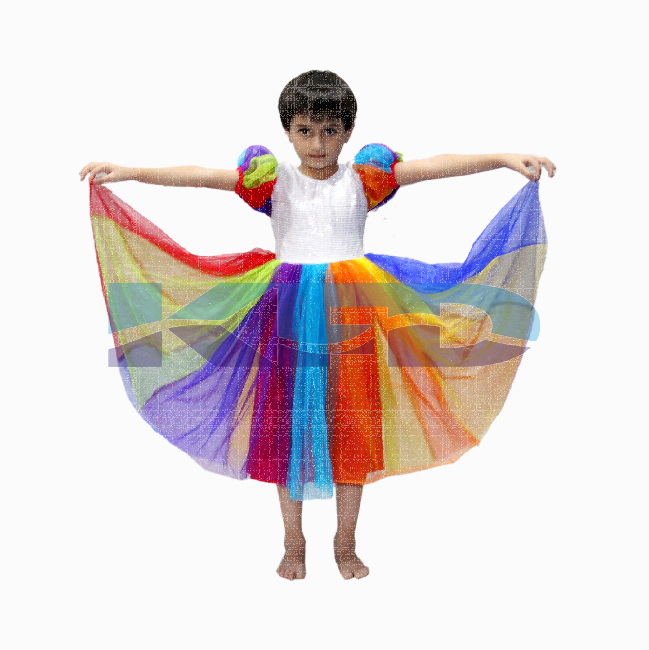 Rainbow Gown/Nature Costume For Kids/School annual function/Theme Party/Stage Shows/Competition/Birthday Party Dress