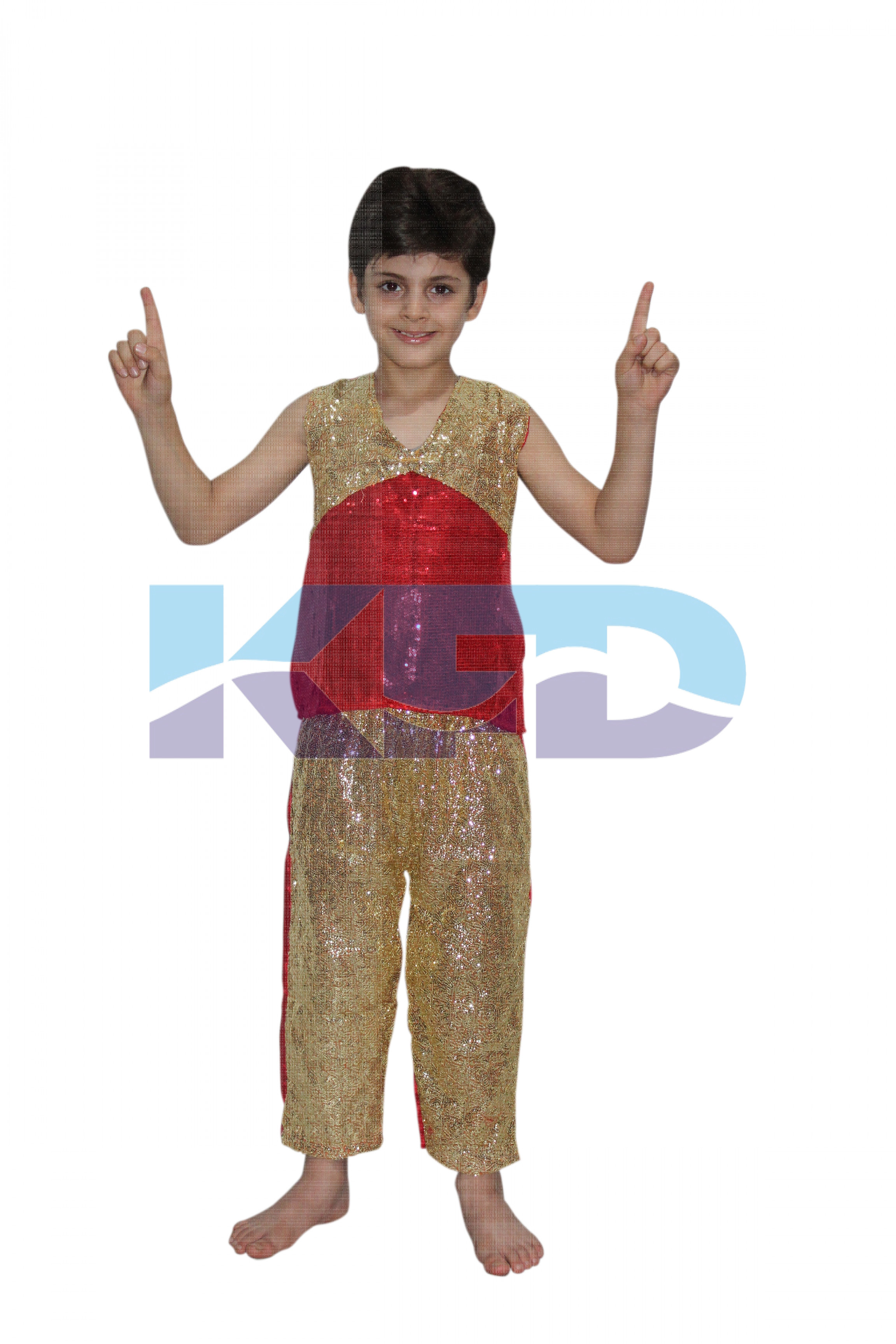 Red Golden Dance Dress For Boy