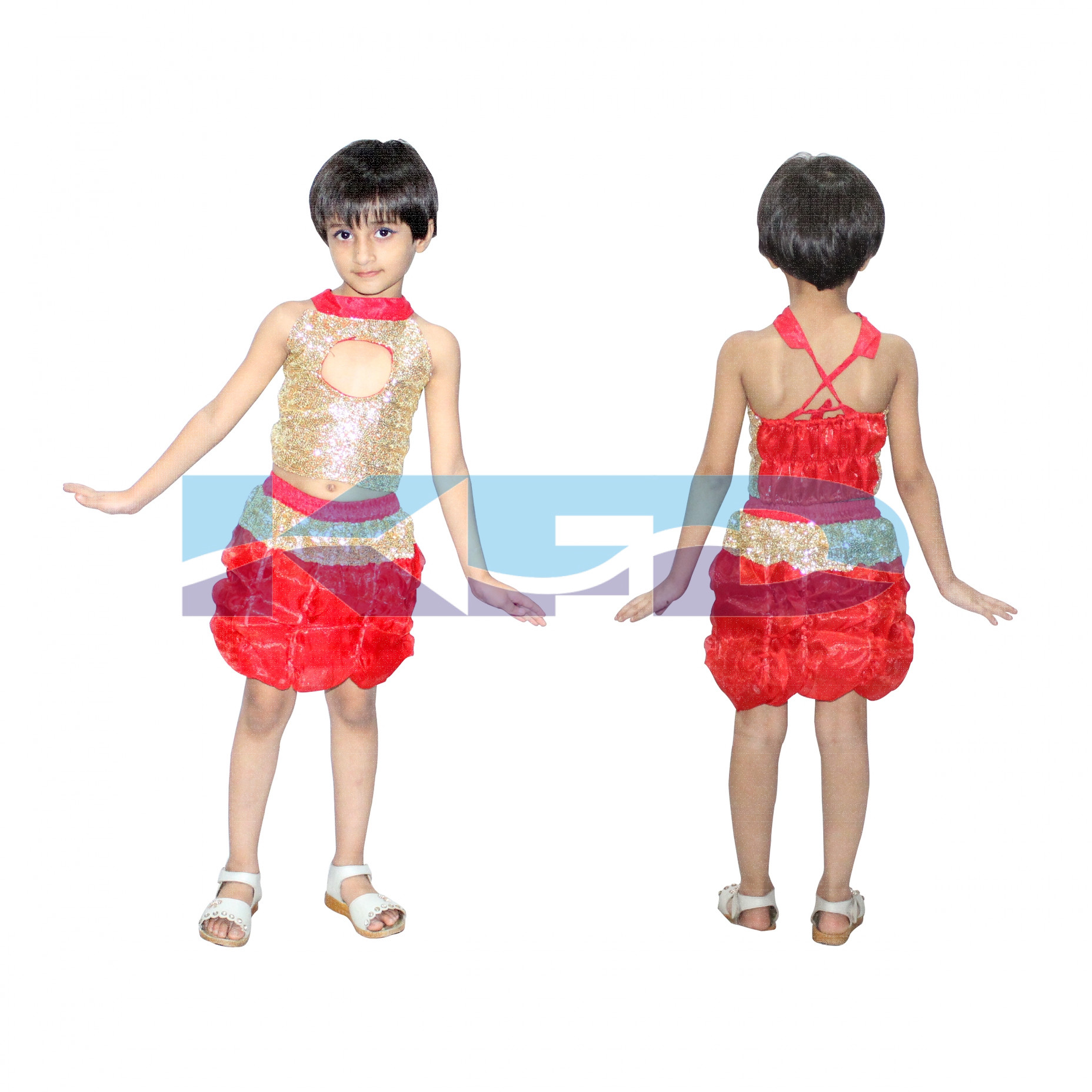 Red Golden Dance Dress for Girl