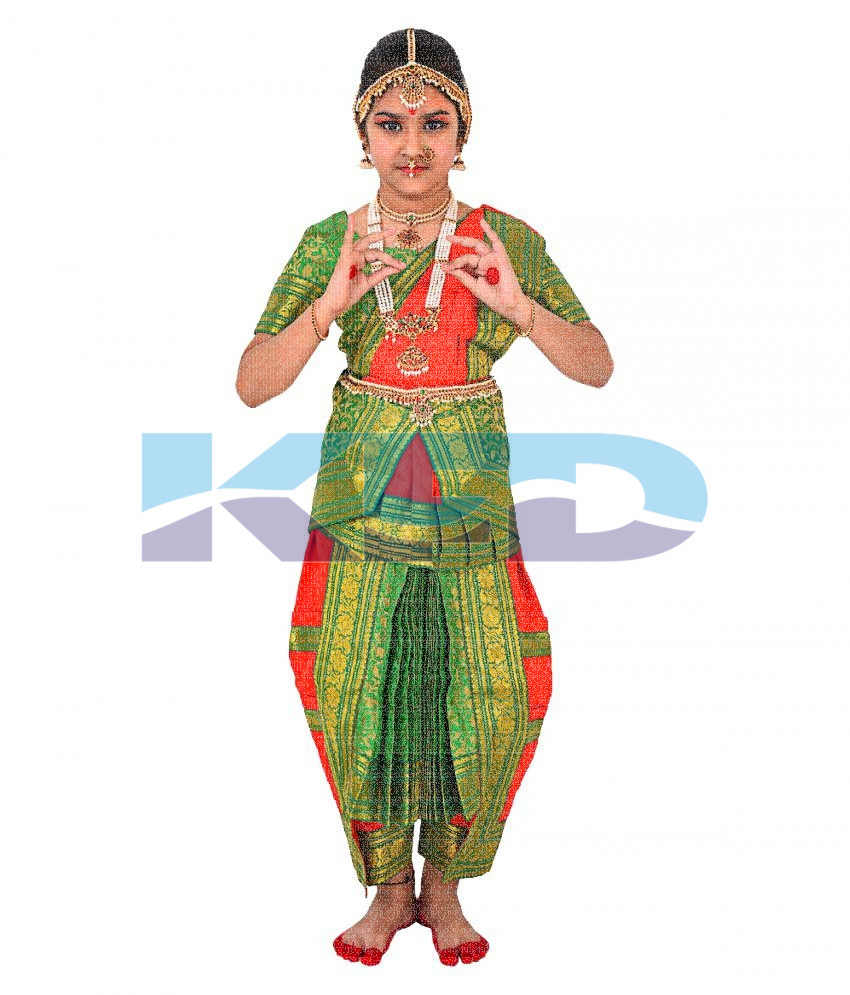 Bharatnatyam Red Brocket fancy dress for kids,Indian Dance Traditional Wear for Annual function/Theme Party/Competition/Stage Shows/Birthday Party Dress