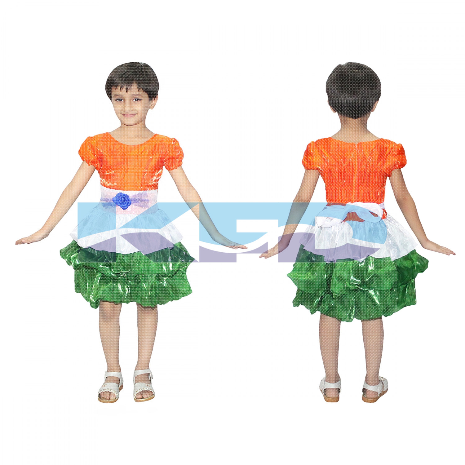 Tri Color frock fancy dress for kids,Western Costume for Annual function/Theme Party/Competition/Stage Shows/Birthday Party Dress
