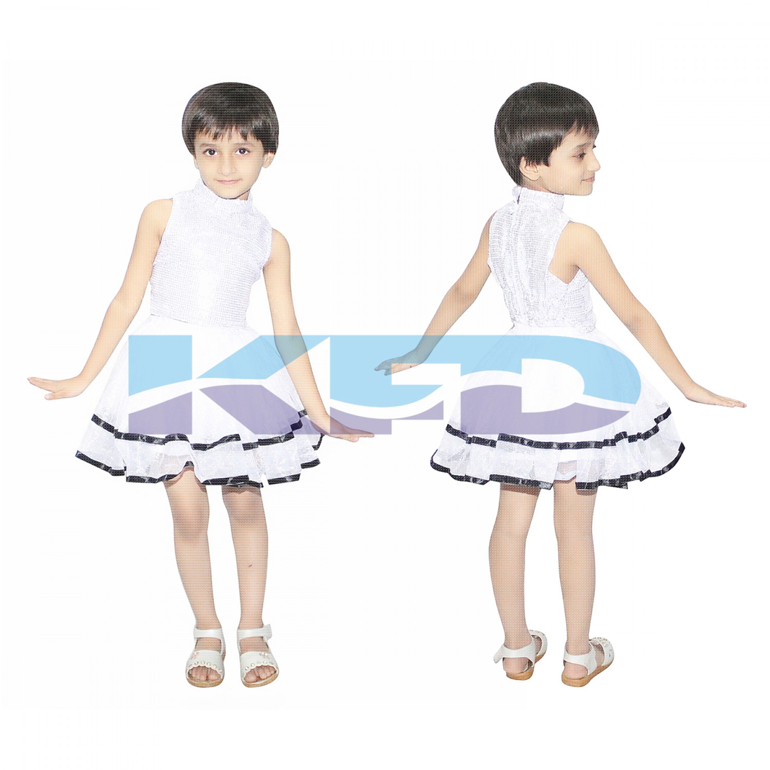 Tu Tu Skirt White Western Costume For School Annual function/Theme Party/Competition/Stage Shows/Birthday Party Dress