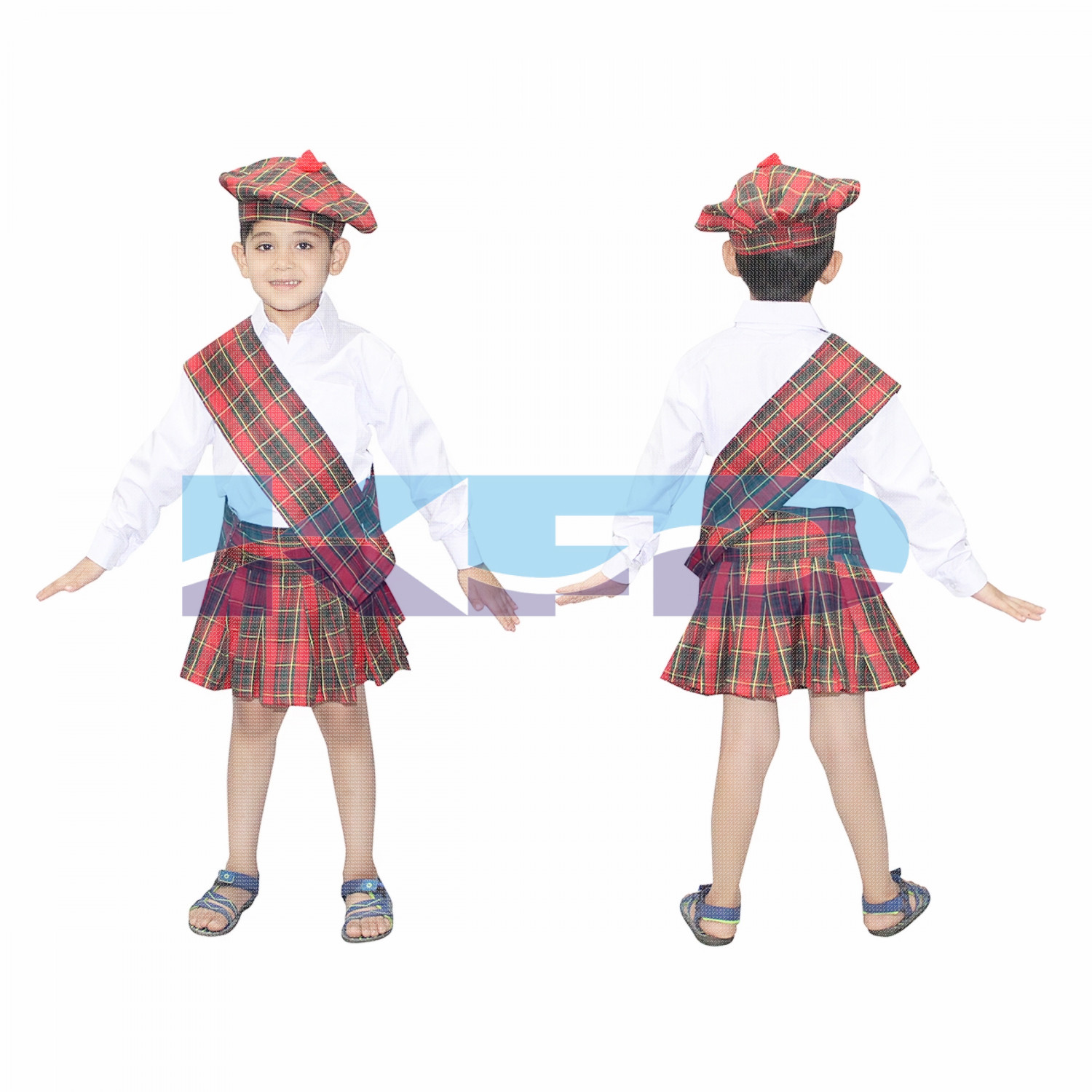 Scottish Boy/Party Costumes/Veneziano for Halloween Carnival Cosplay Costume/Tartan Fancy Dress/International Traditional Costume For Kids/School Annual function/Theme Party/Competition/Stage Shows Dress