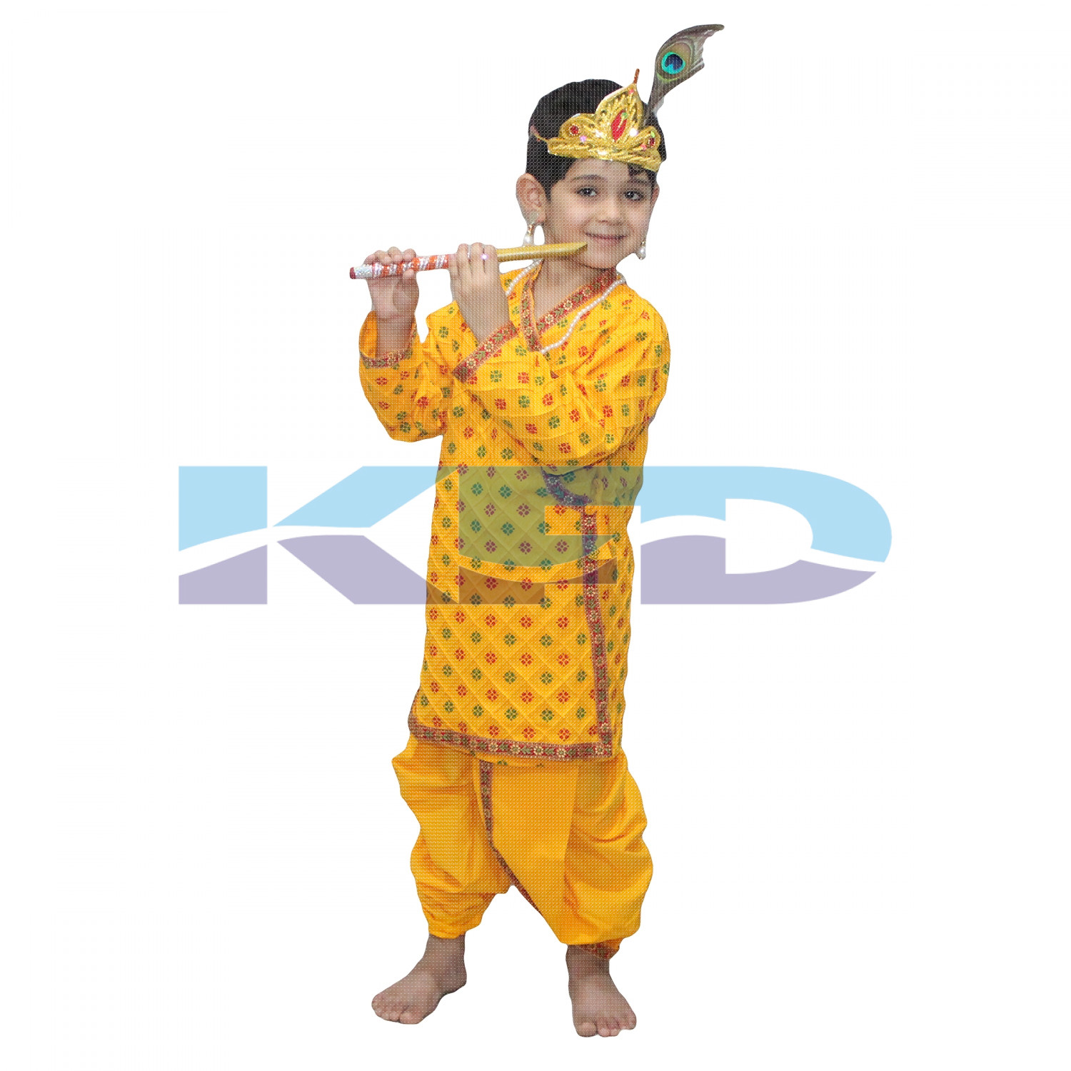Krishna Printed In Cotton Fabric,Krishnaleela/Janmashtami/Kanha/Mythological Character For Kids School Annual functionTtheme Party/Competition/Stage Shows Dress